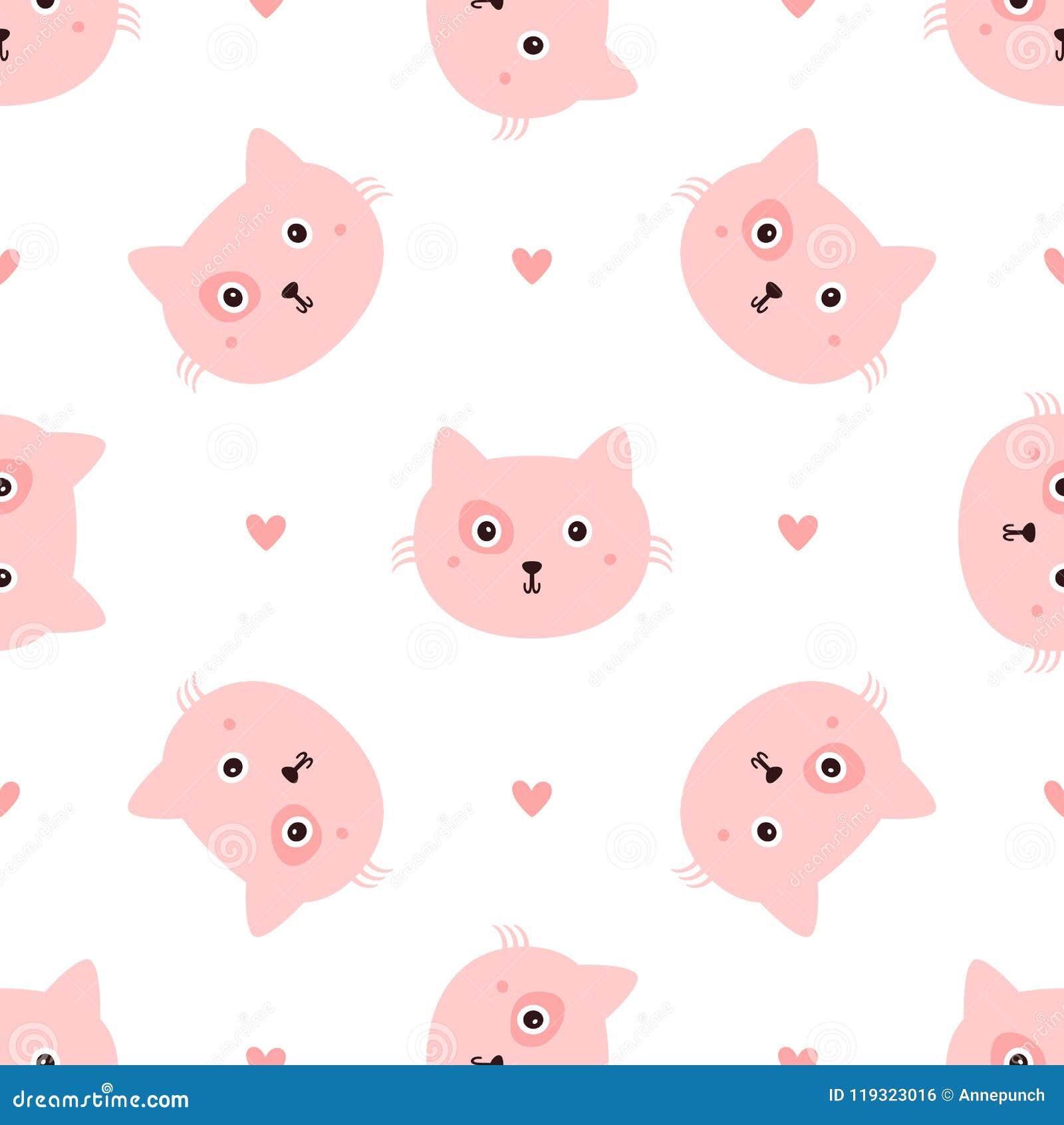 Wiederholte Hauptkatzen und Herzen eigenhändig gezeichnet Nahtloses Muster mit nettem Tier