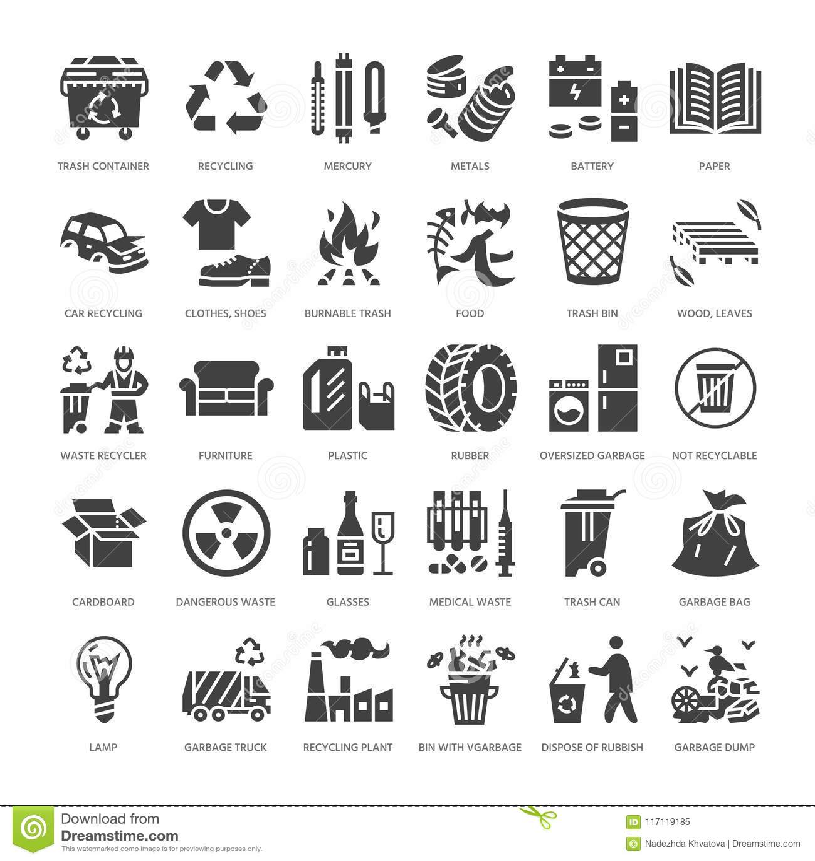 Wiederverwertung von flachen Glyphikonen Verschmutzung, bereiten Anlage auf Abfall, der Arten - Papier, Glas, Plastik, Metall, br