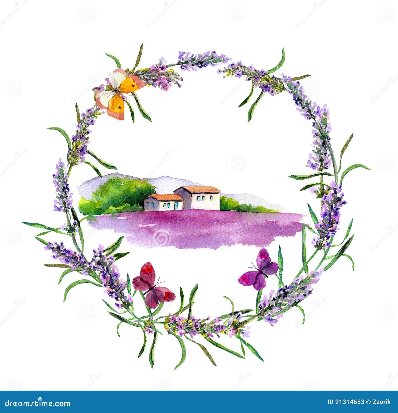 Wiejski gospodarstwo rolne - provencal dom, lawendowy kwiatu pole w Provence akwarela