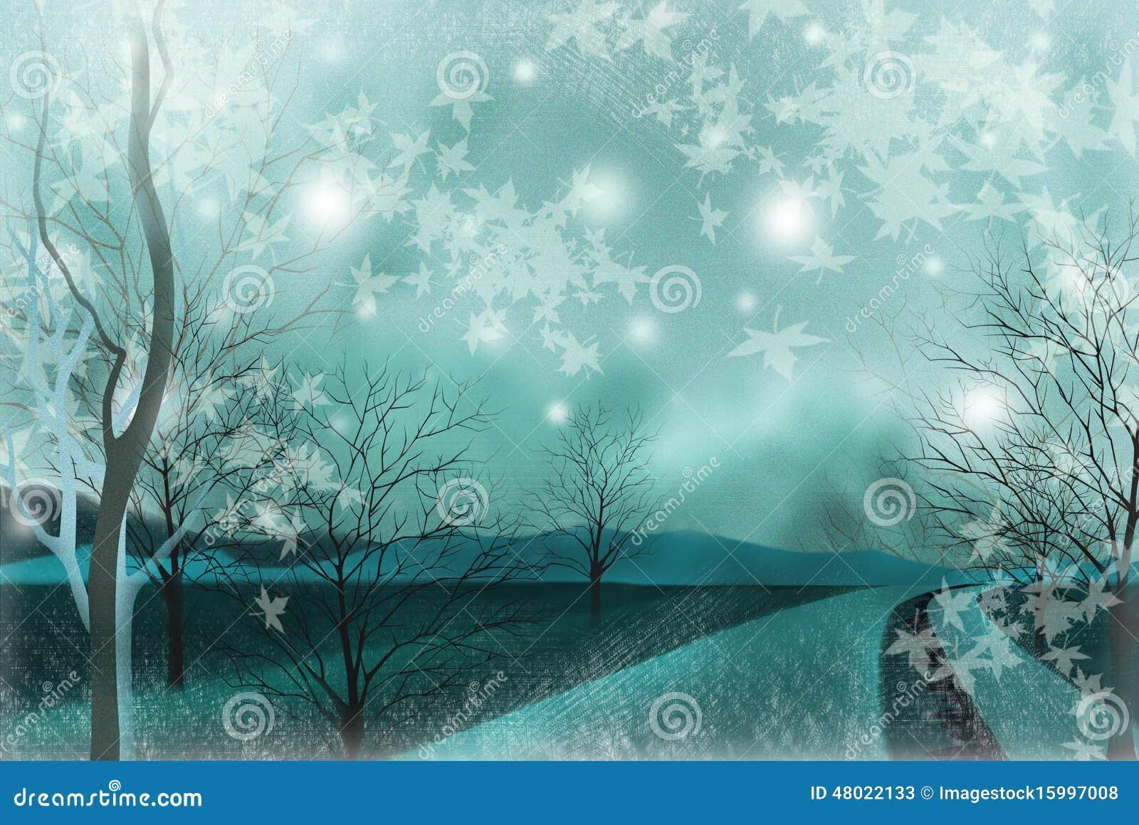 Wiejski krajobraz półmrok - Graficzna obraz tekstura
