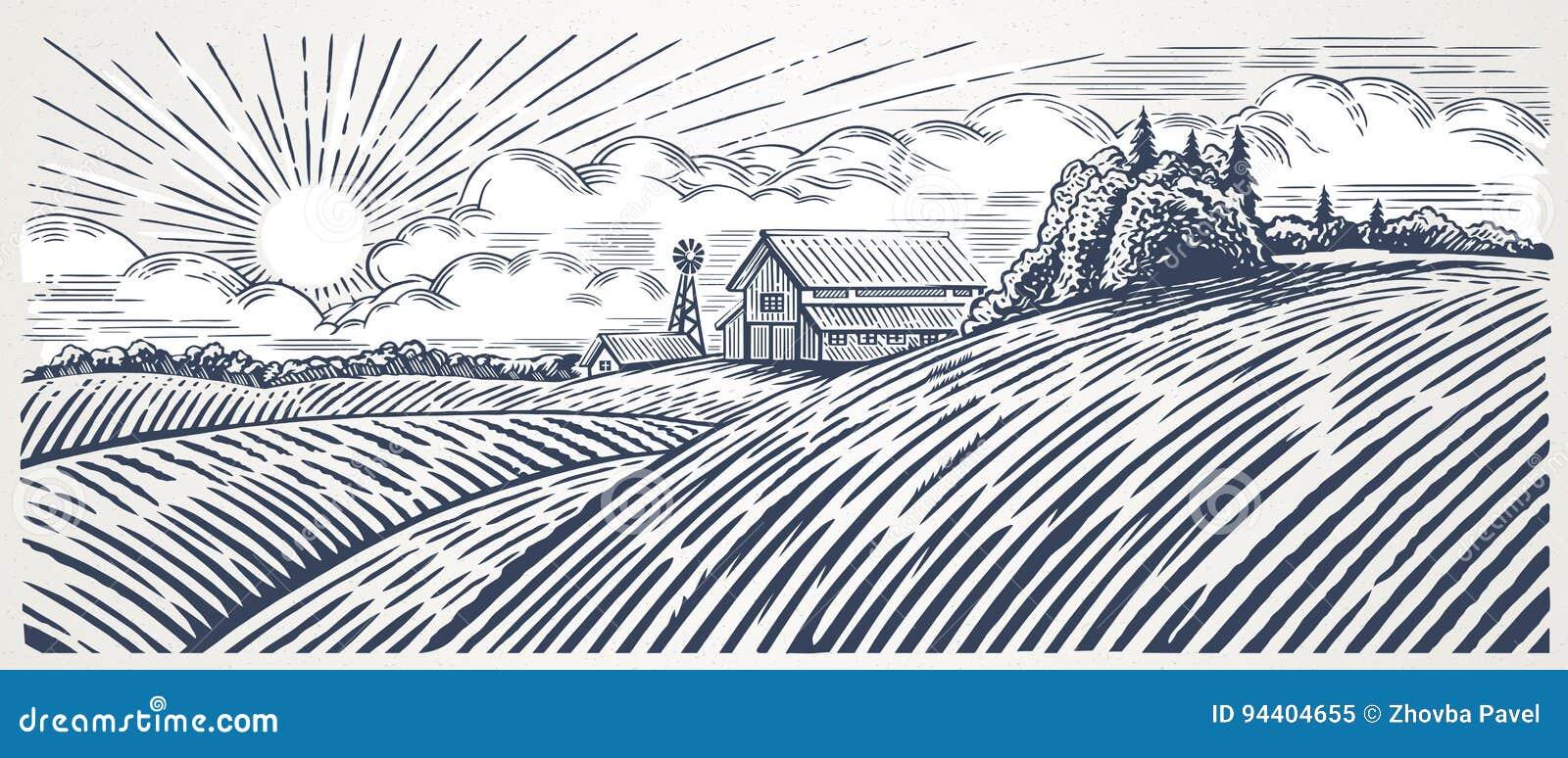 Wiejski krajobraz z gospodarstwem rolnym
