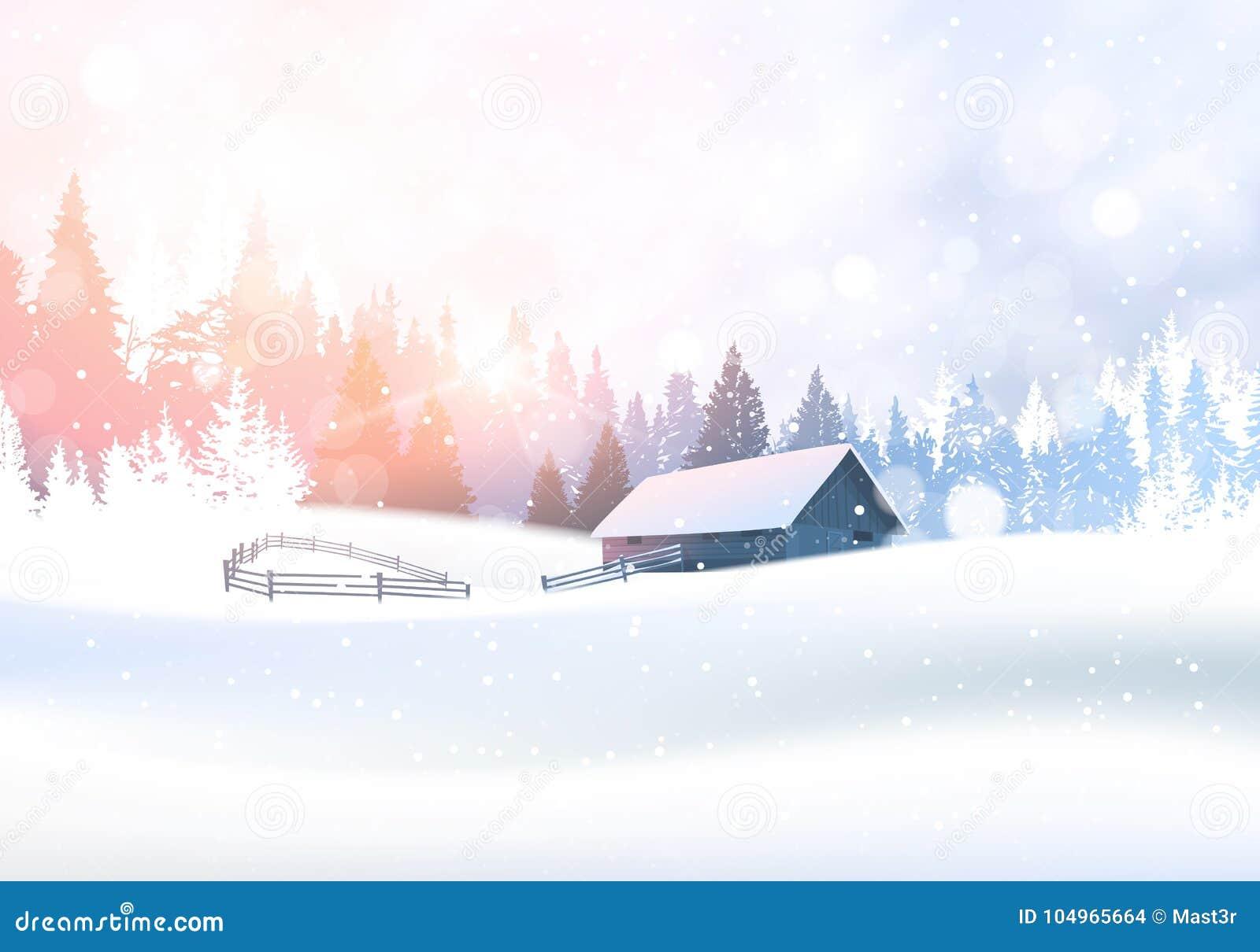 Wiejski zima krajobraz Z domem W Śnieżnym Lasowym sosen drewien tle