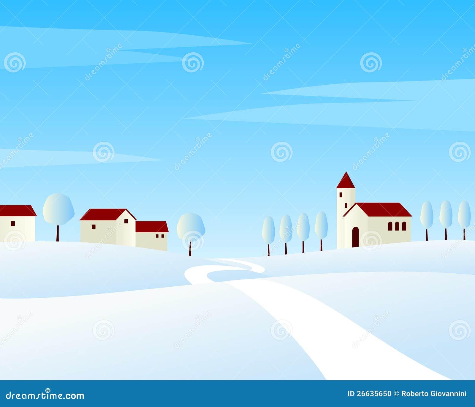 Wiejskiej Drogi Zima Krajobraz