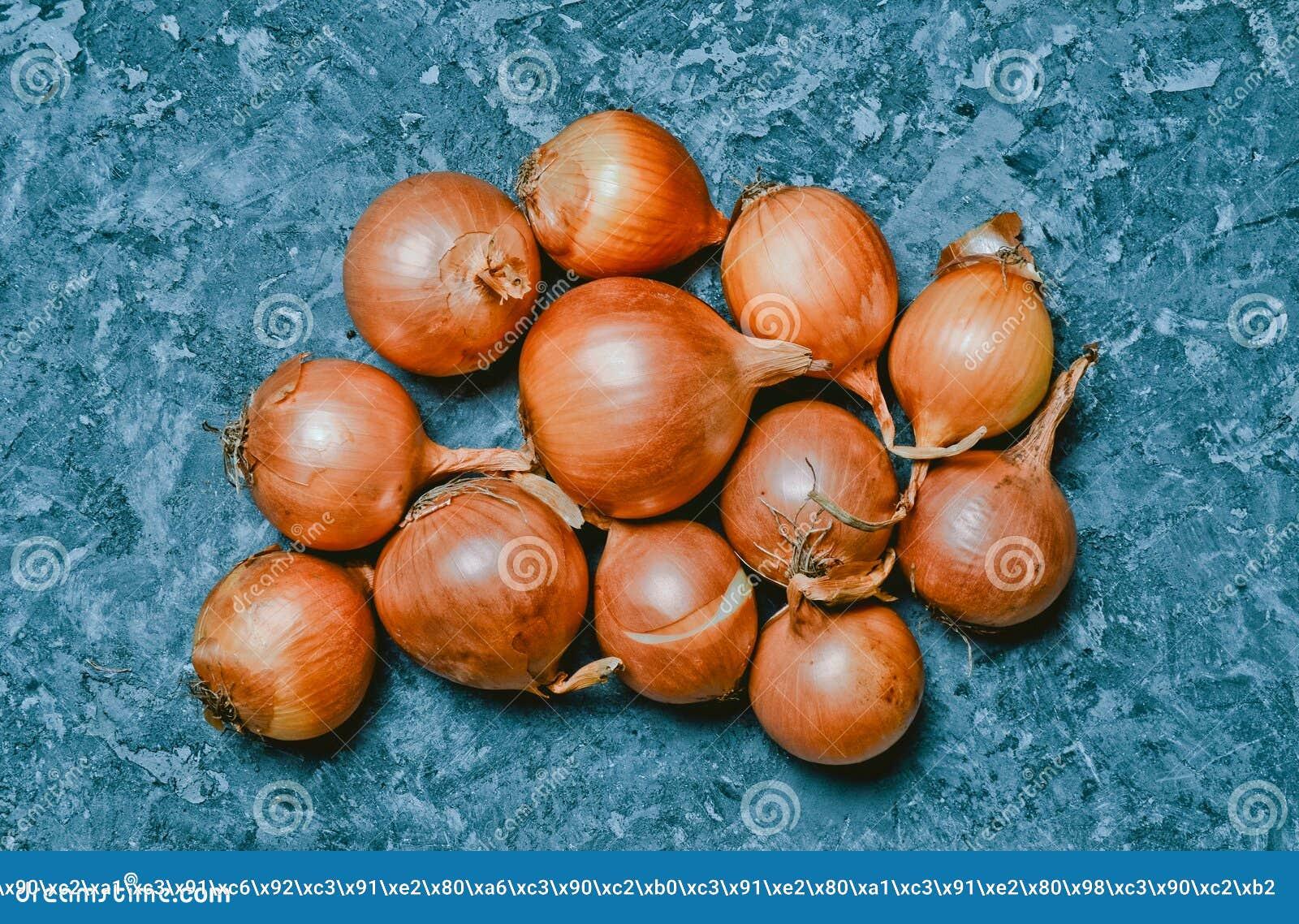 Wiele cebule na szarej betonowej powierzchni pożytecznie warzywa