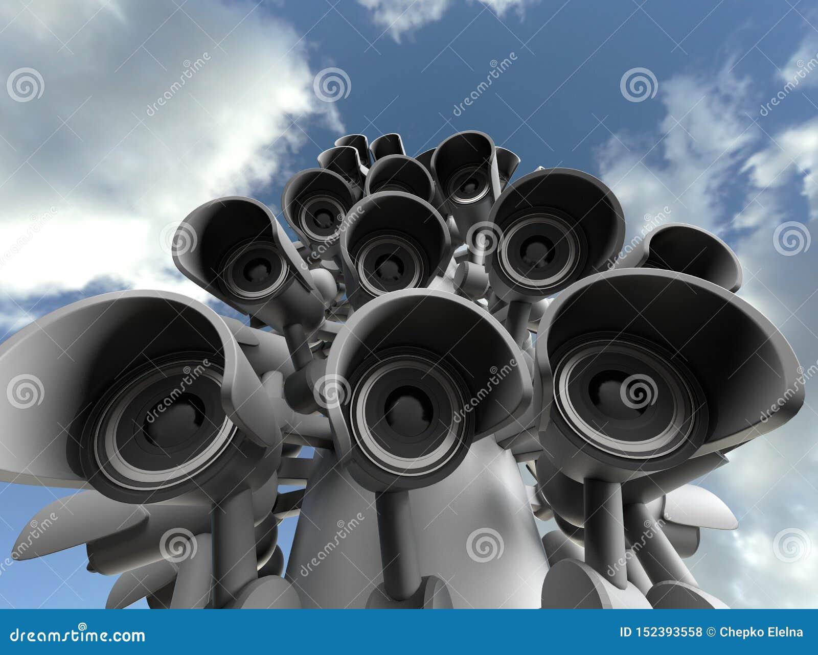 Wiele kamery bezpiecze?stwa na miasto filarze, wielki brat ogl?da ciebie Inwigilaci CCTV kamera ?wiadczenia 3 d