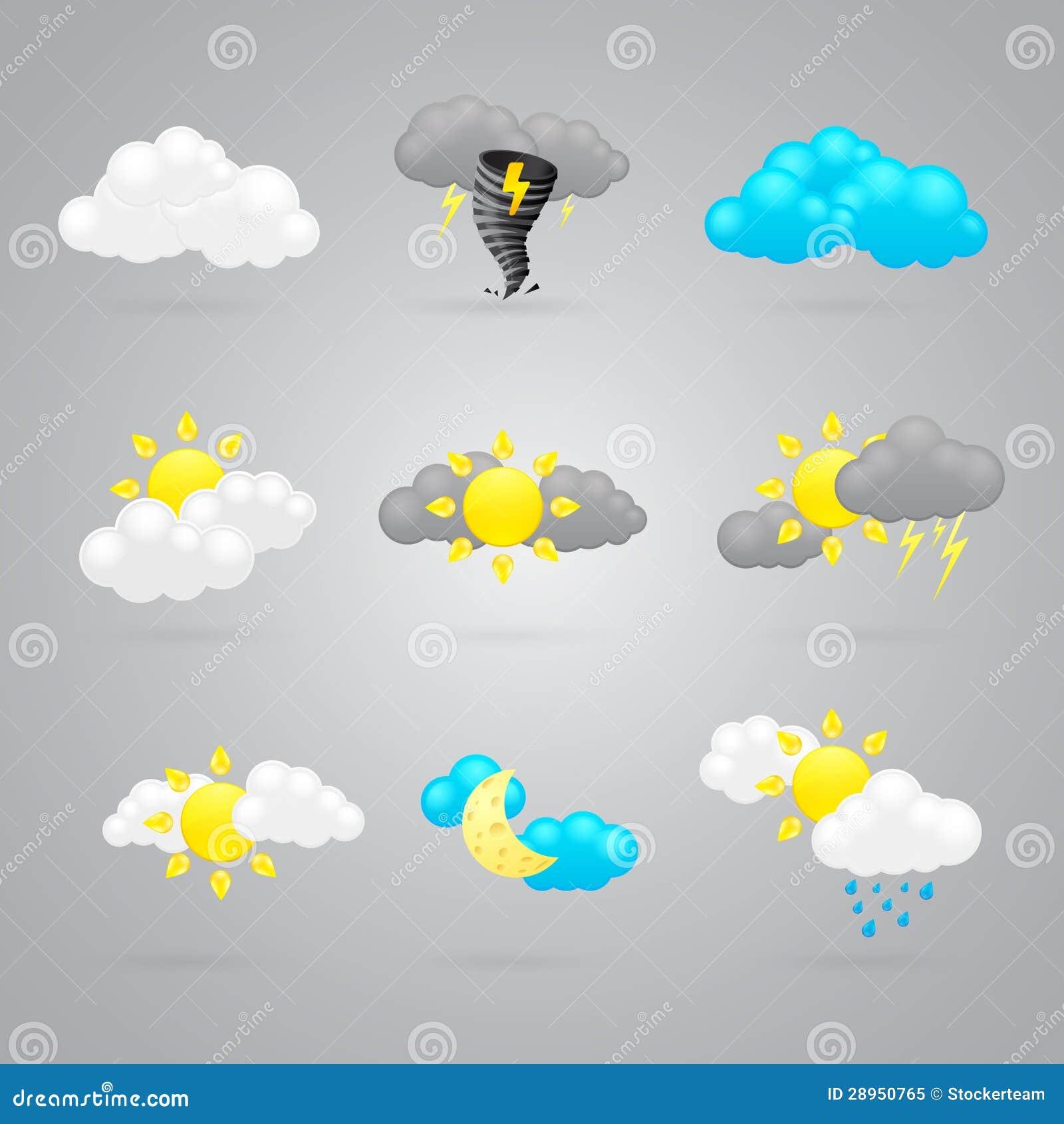 Wiele różne kolor pogody ikony