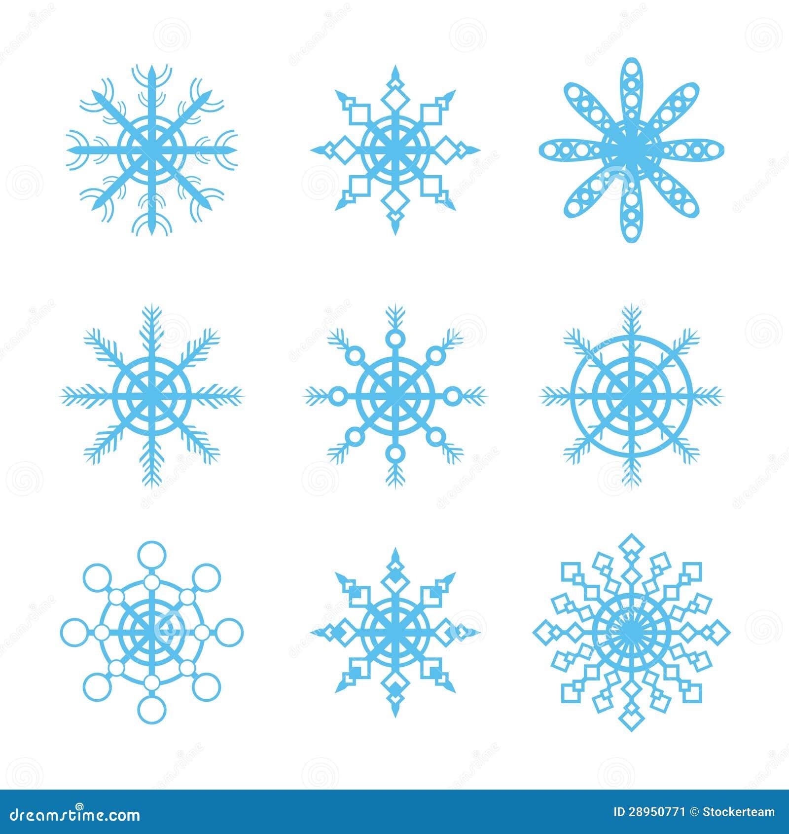 Wiele różne płatek śniegu ikony ustawiać