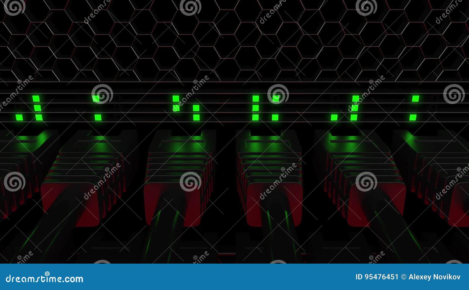 Wiele rozblaskowa zieleń i PROWADZILI lampy Telekomunikacja, obłoczna technologia lub nowożytni dane centrum pojęcia,