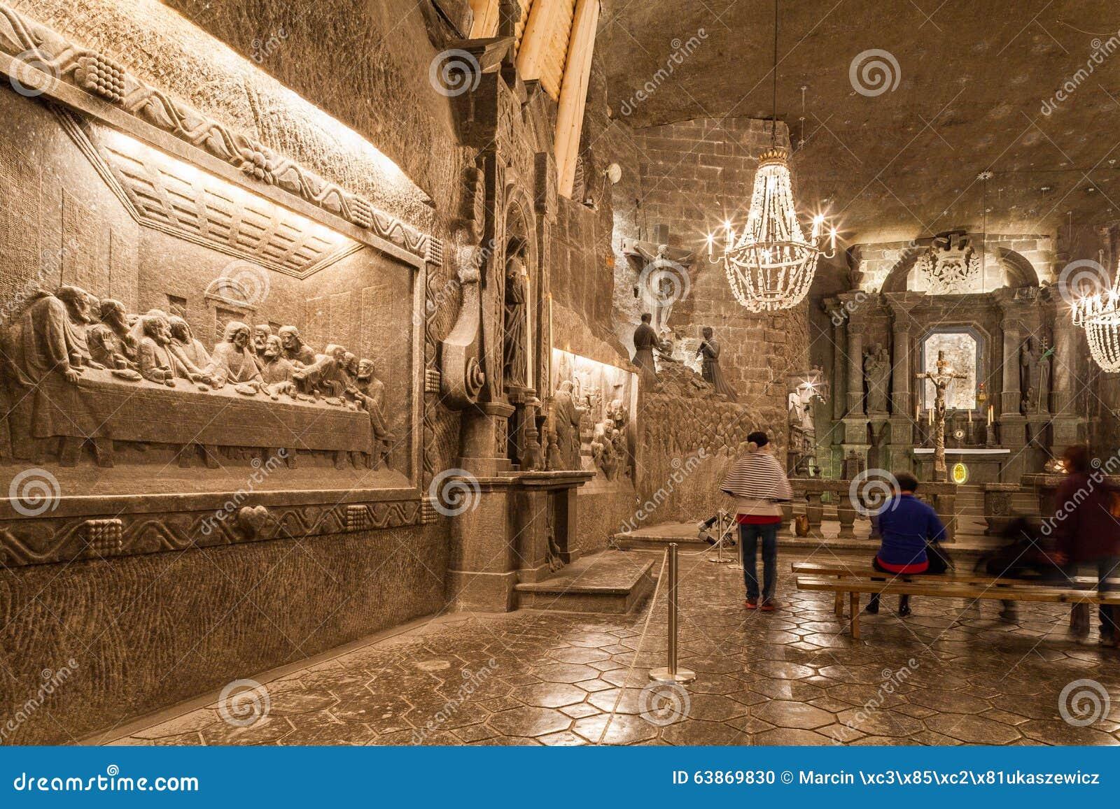 Wieliczka - Polen - inre av St Kinga Chapel