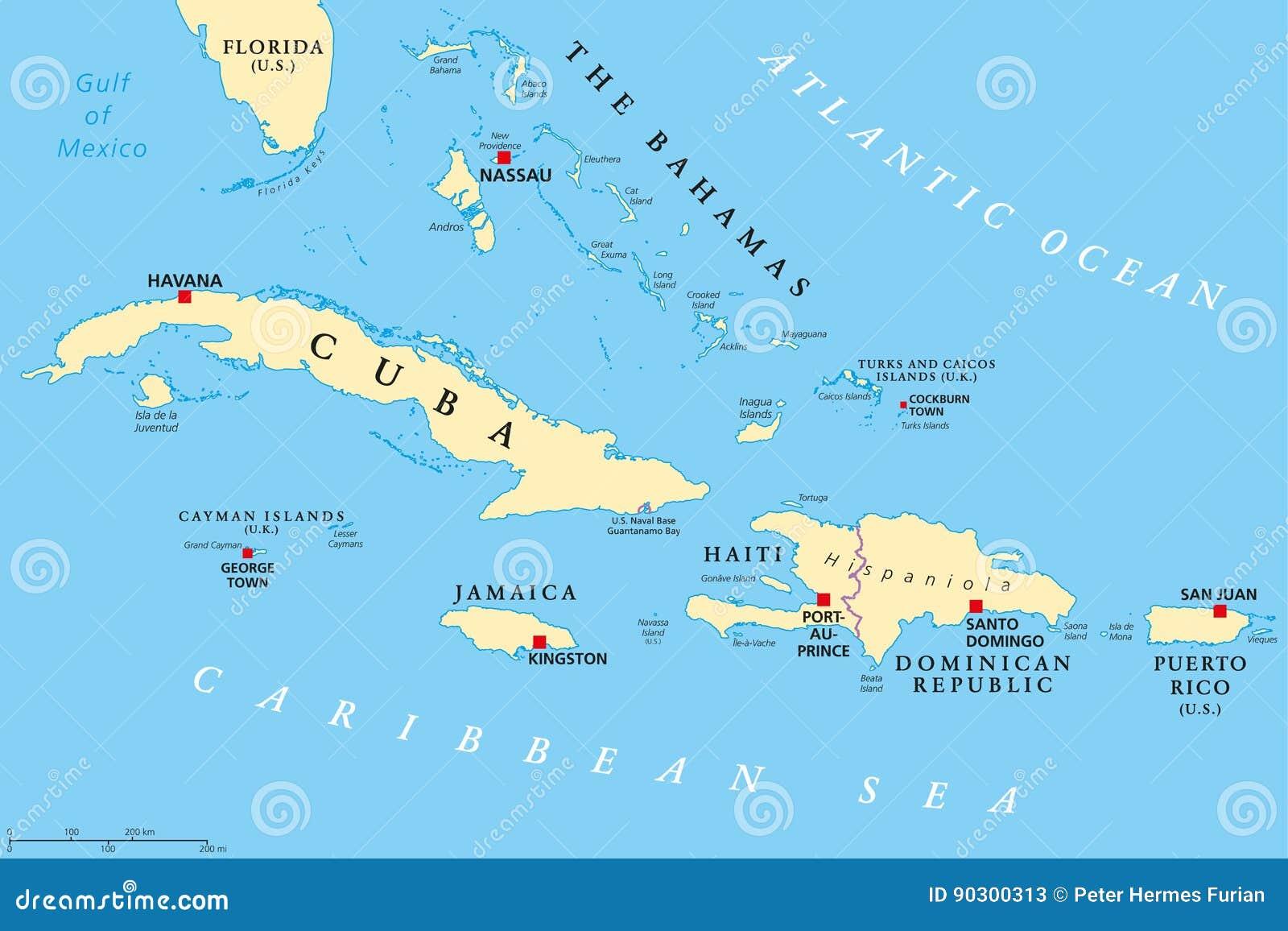 Wielka Antilles Polityczna Mapa Ilustracja Wektor Ilustracja