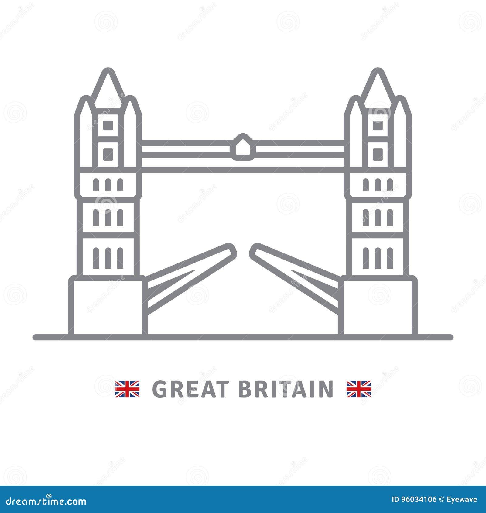 Wielka Brytania ikona z wierza mostem i Brytyjski zaznaczamy