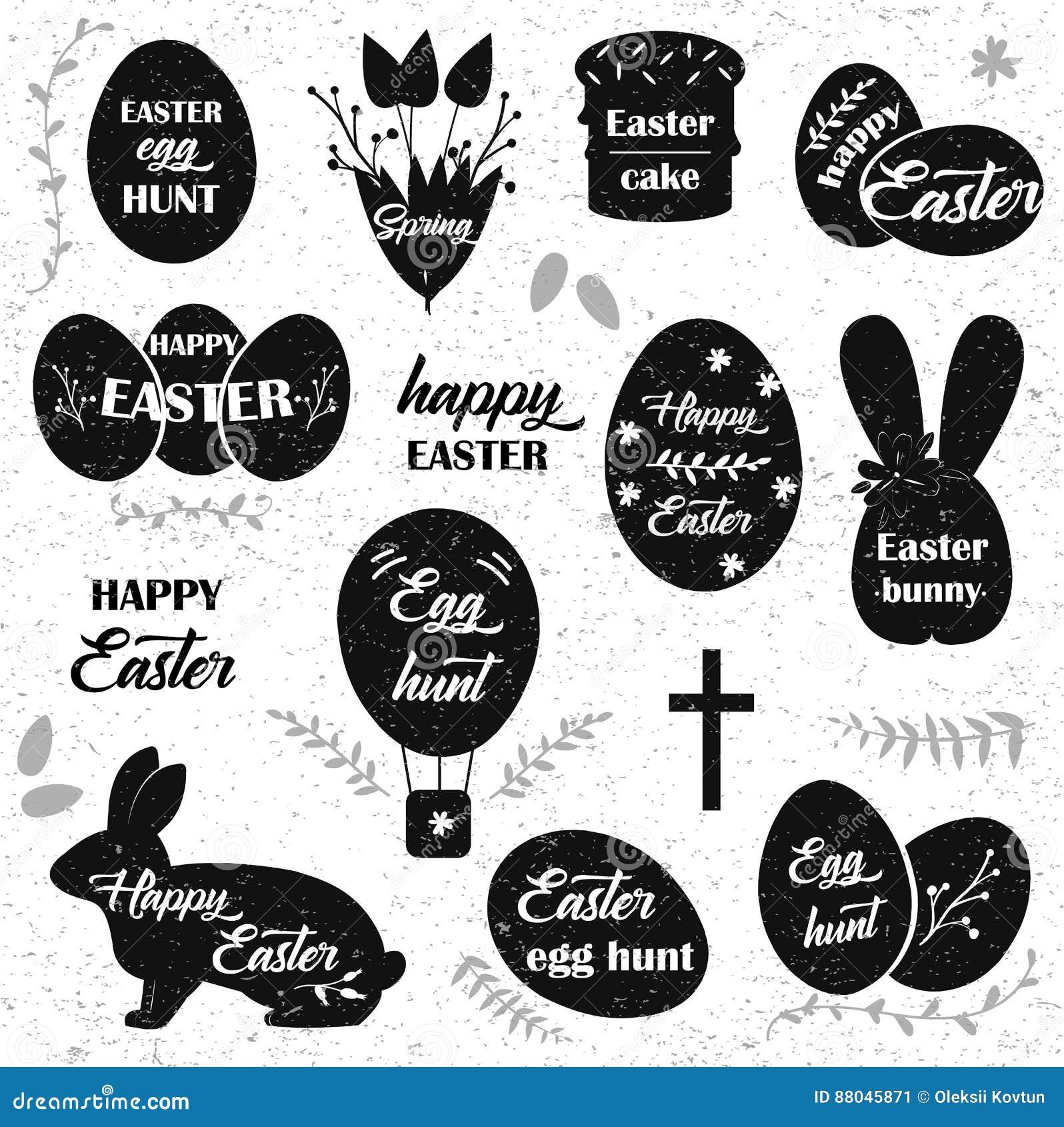 Wielkanoc Czarne ikony na białym tle Wielkanocnych jajek sylwetka