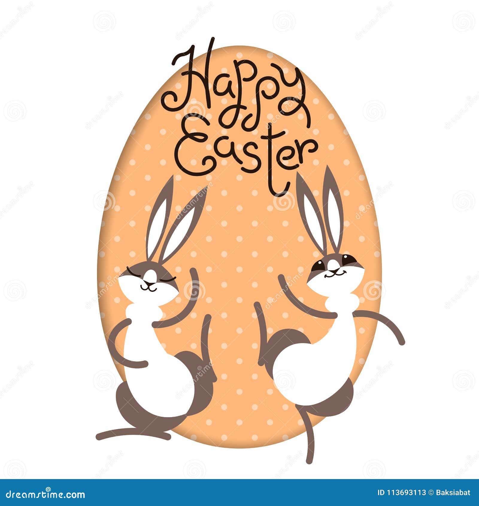 Wielkanoc szczęśliwy Królika królika zając jajka ramy inside malujący okno Śliczny postać z kreskówki dziecka karciany eps10 powi
