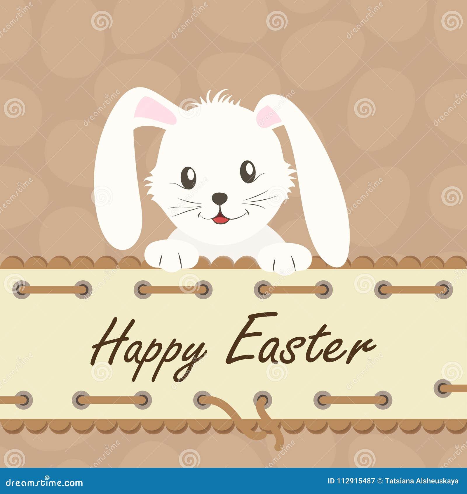 Wielkanoc szczęśliwy Tło z białym Easter królikiem