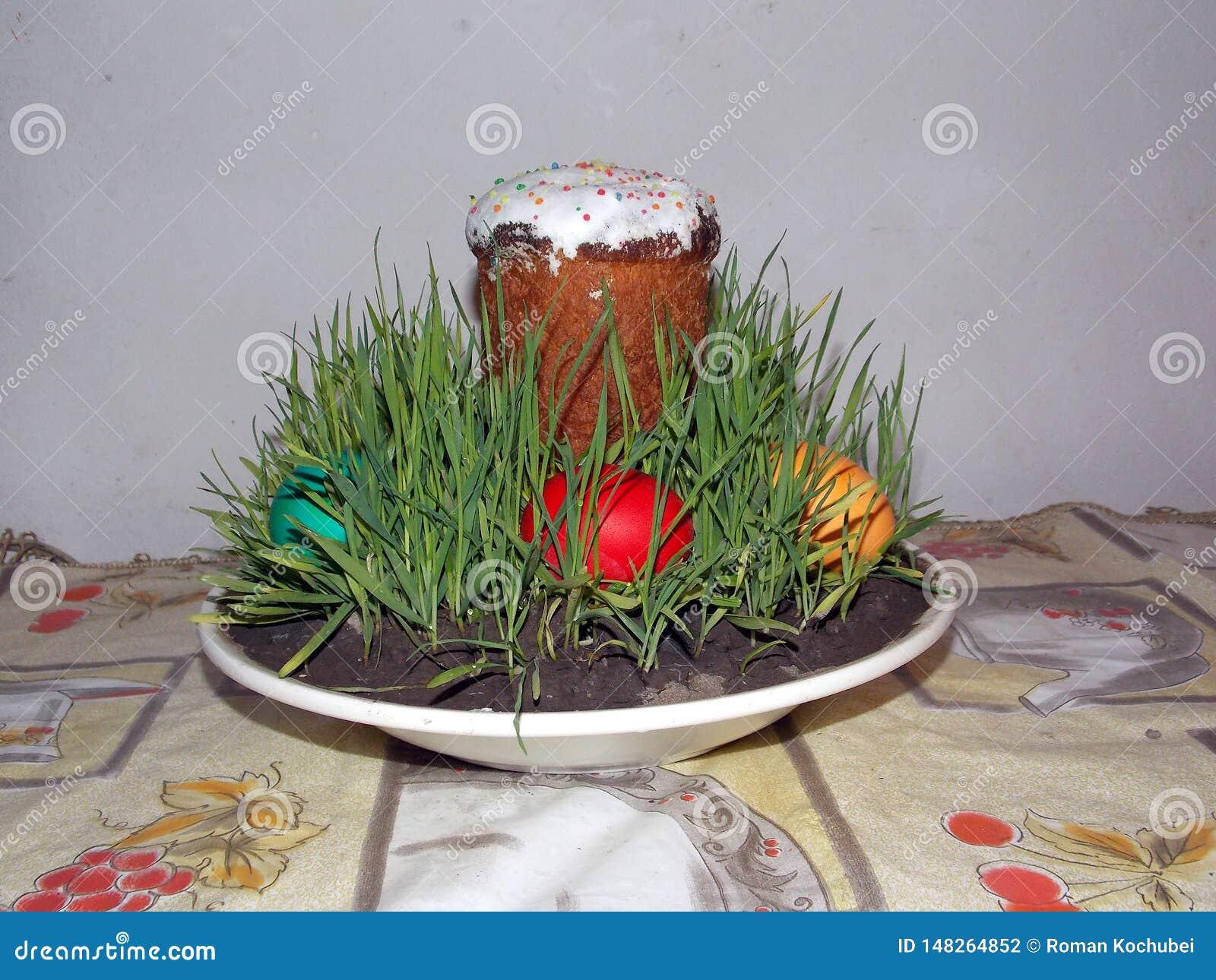 Wielkanoc tort rosjanin i Ukrai?ski Tradycyjny Kulich -, Pasek wielkanocy chleb Selekcyjna ostro??