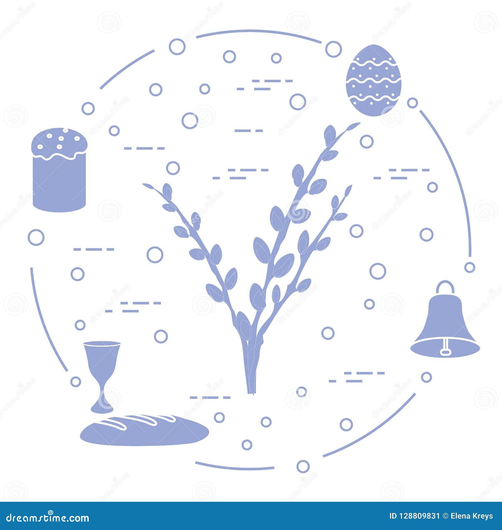 Wielkanoc tort, wierzba rozgałęzia się, dzwon, puchar, jajko