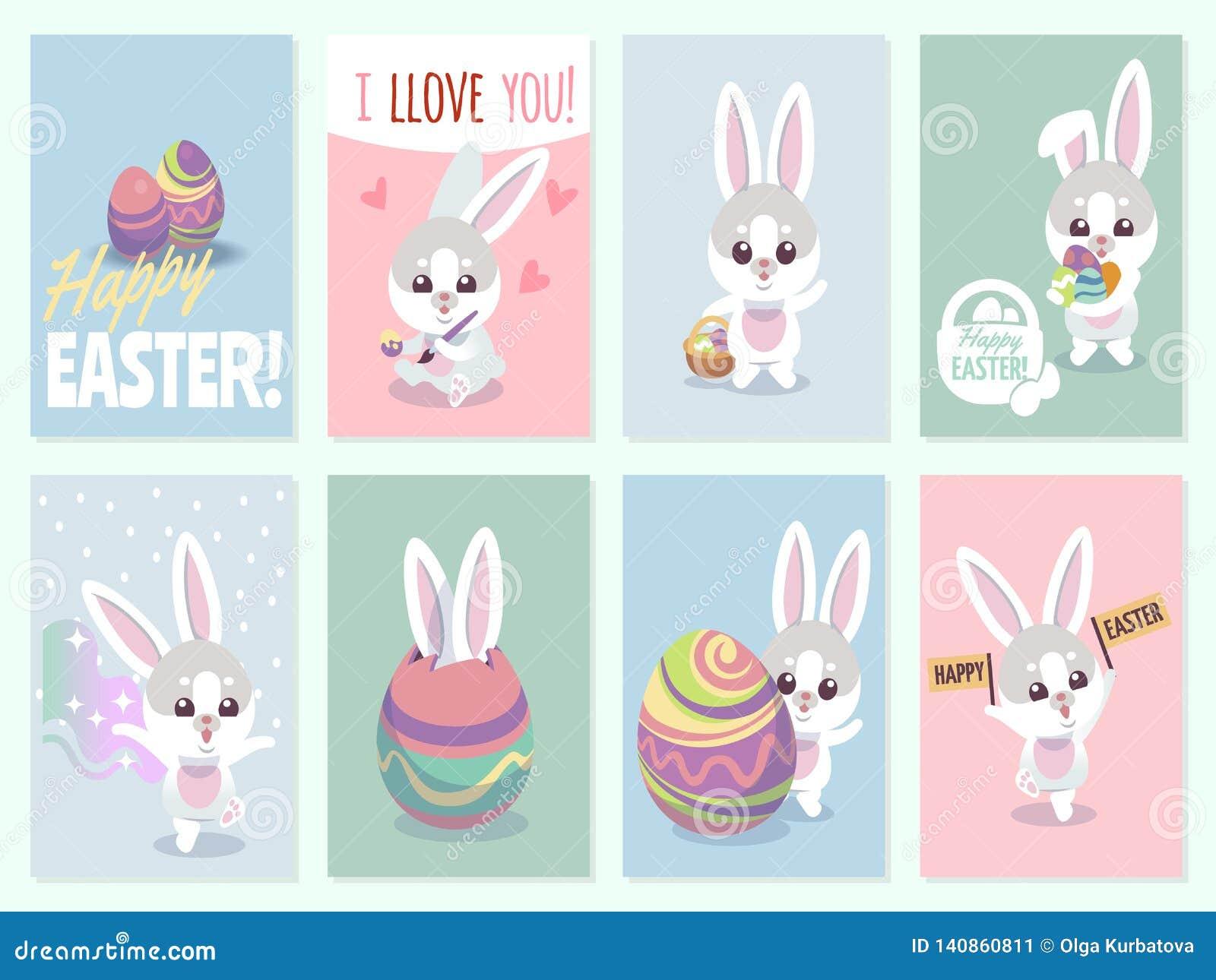 Wielkanocne królik karty Dziecko króliki śliczni i kolorów jajka bawją się zaproszenie wektoru set