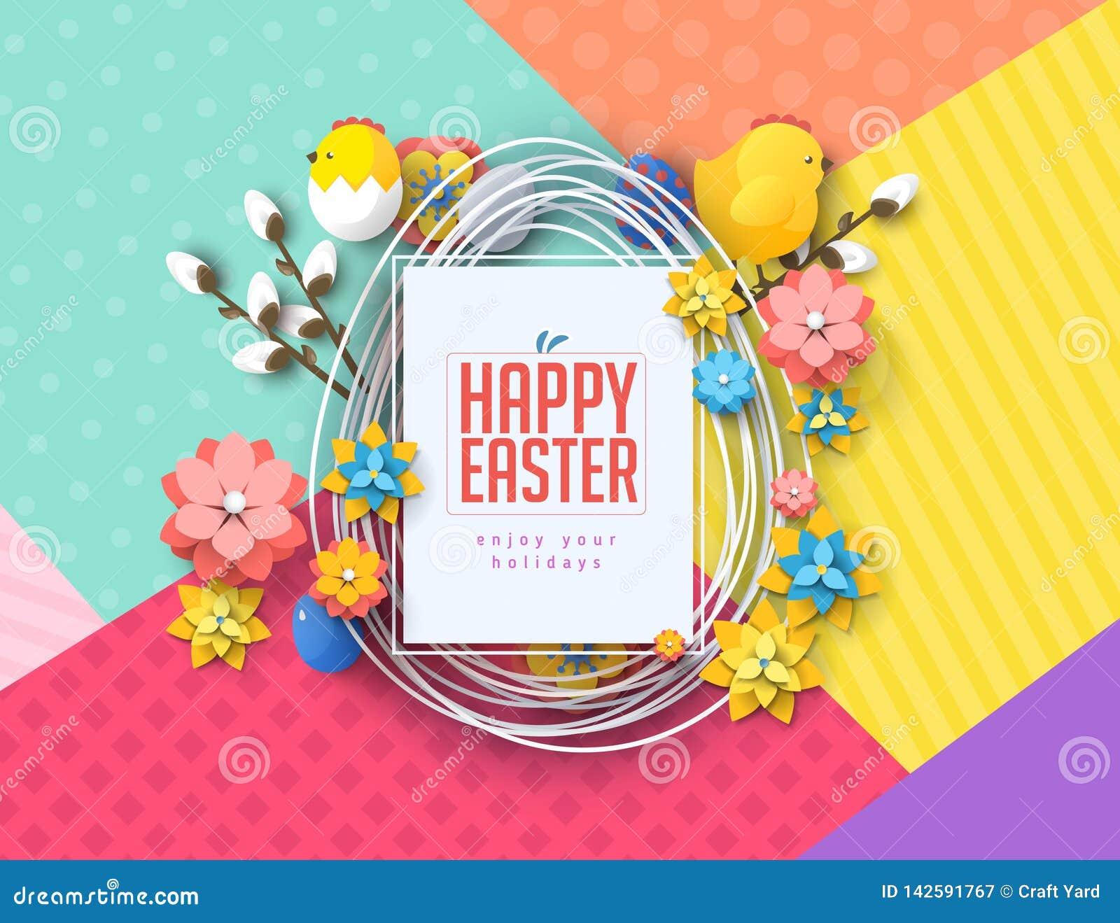 Wielkanocnego pojęcie sztandaru ulotki jajek kolorowego królika tła abstrakcjonistyczna tekstura