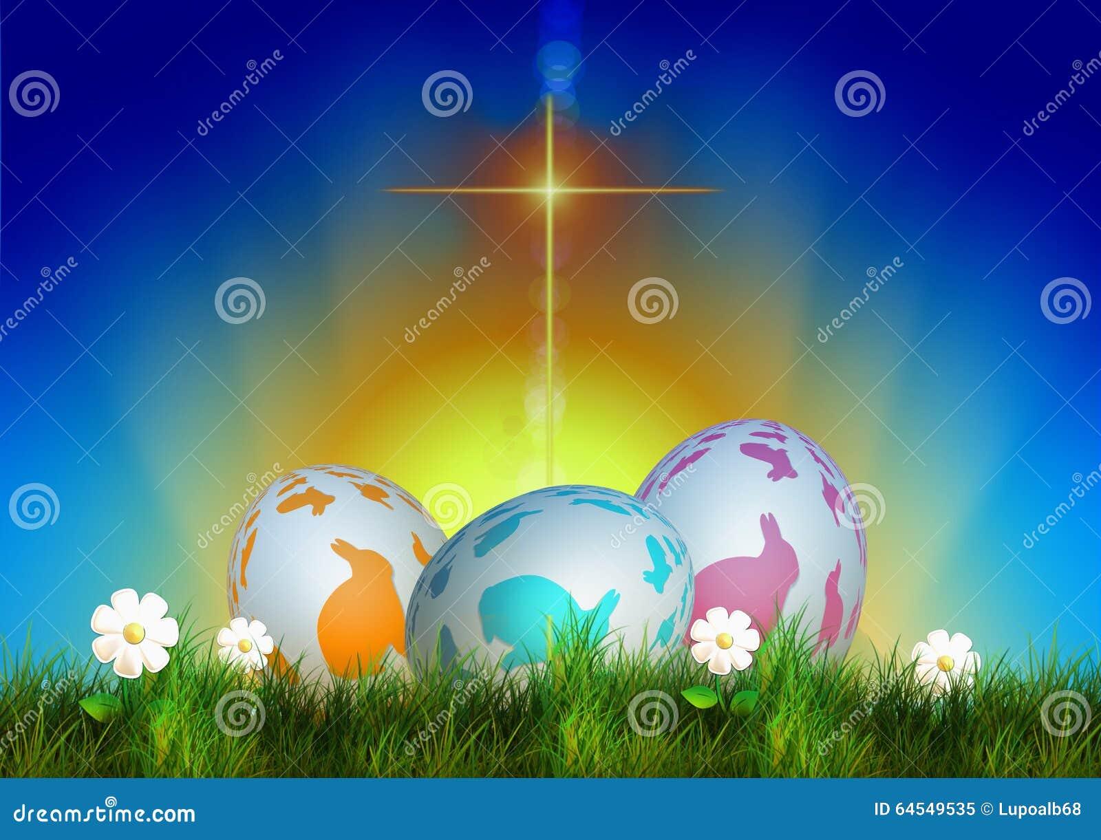 Wielkanocni barwioni jajka, krzyża światło tła wallaper