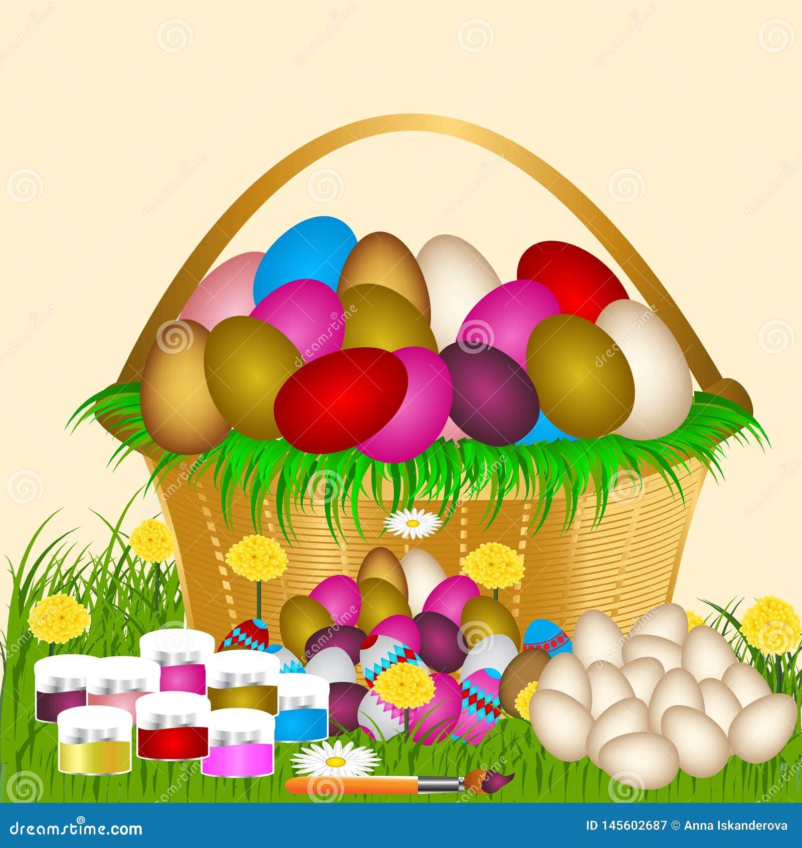 Wielkanocni jajka na zielonej trawie