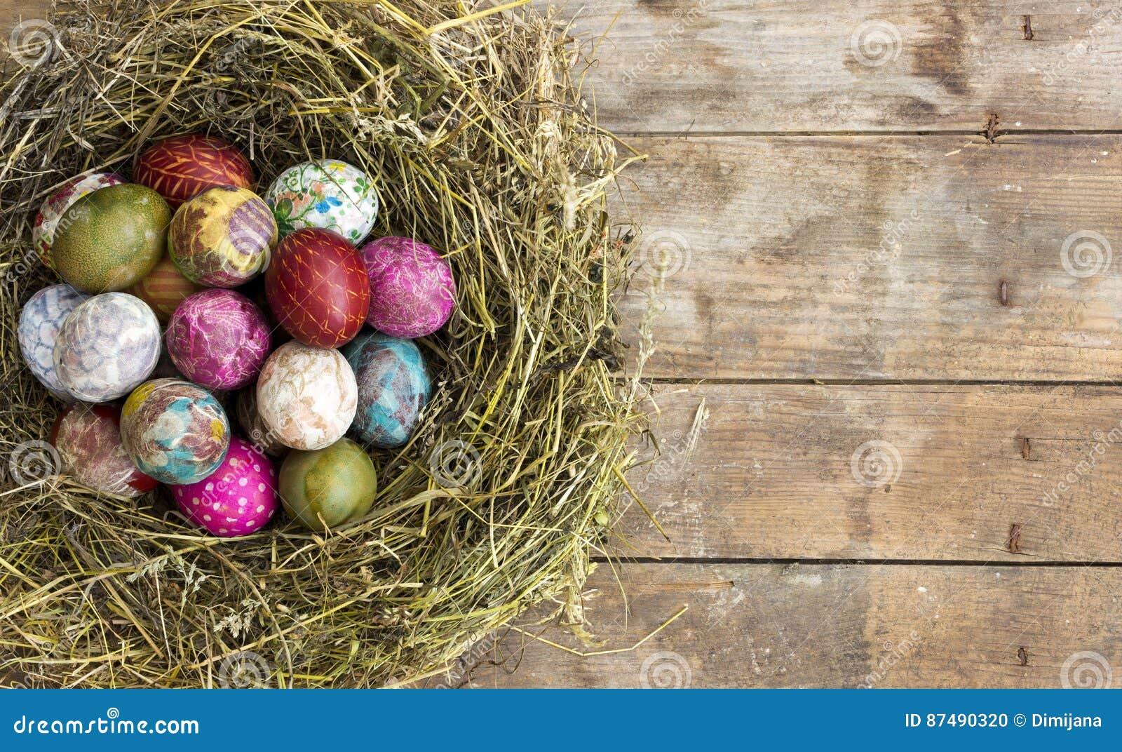 Wielkanocni jajka w gniazdeczku na nieociosanym drewnianym tle