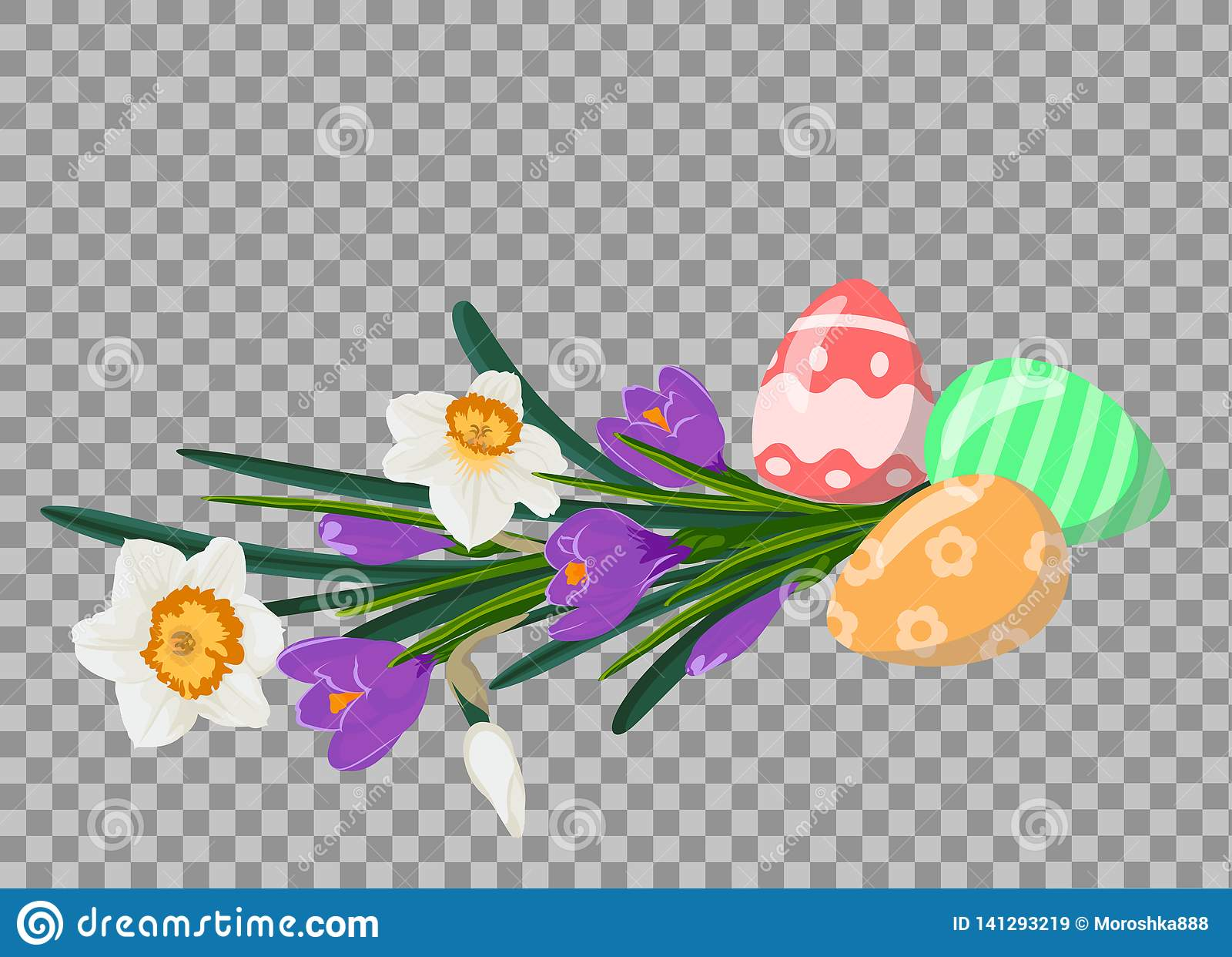 Wielkanocni jajka z bukietem biali daffodils i fiołkowi crocuces wielkanoc życie wciąż