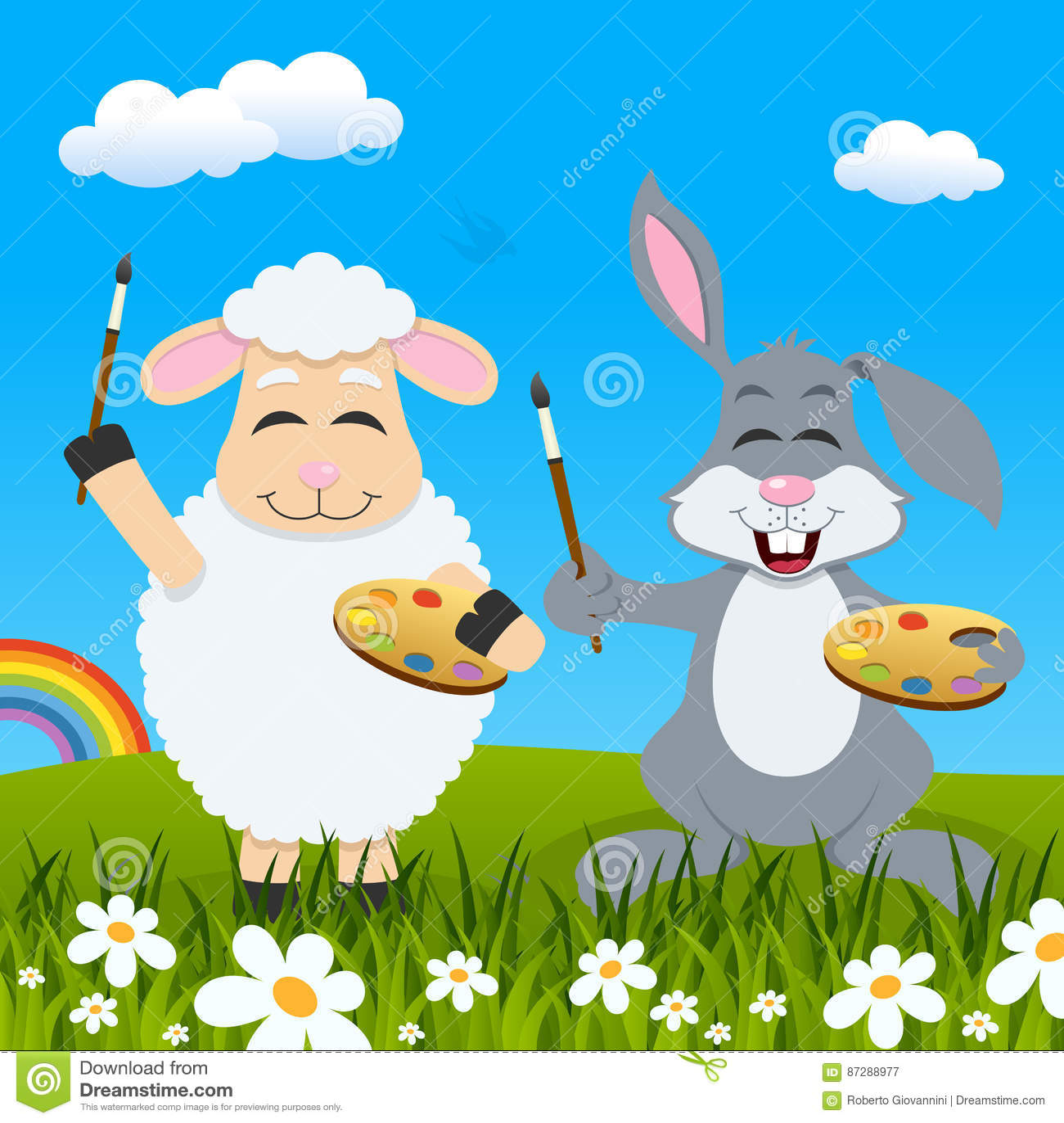 Wielkanocny baranek, królik tęcza & malarzi &