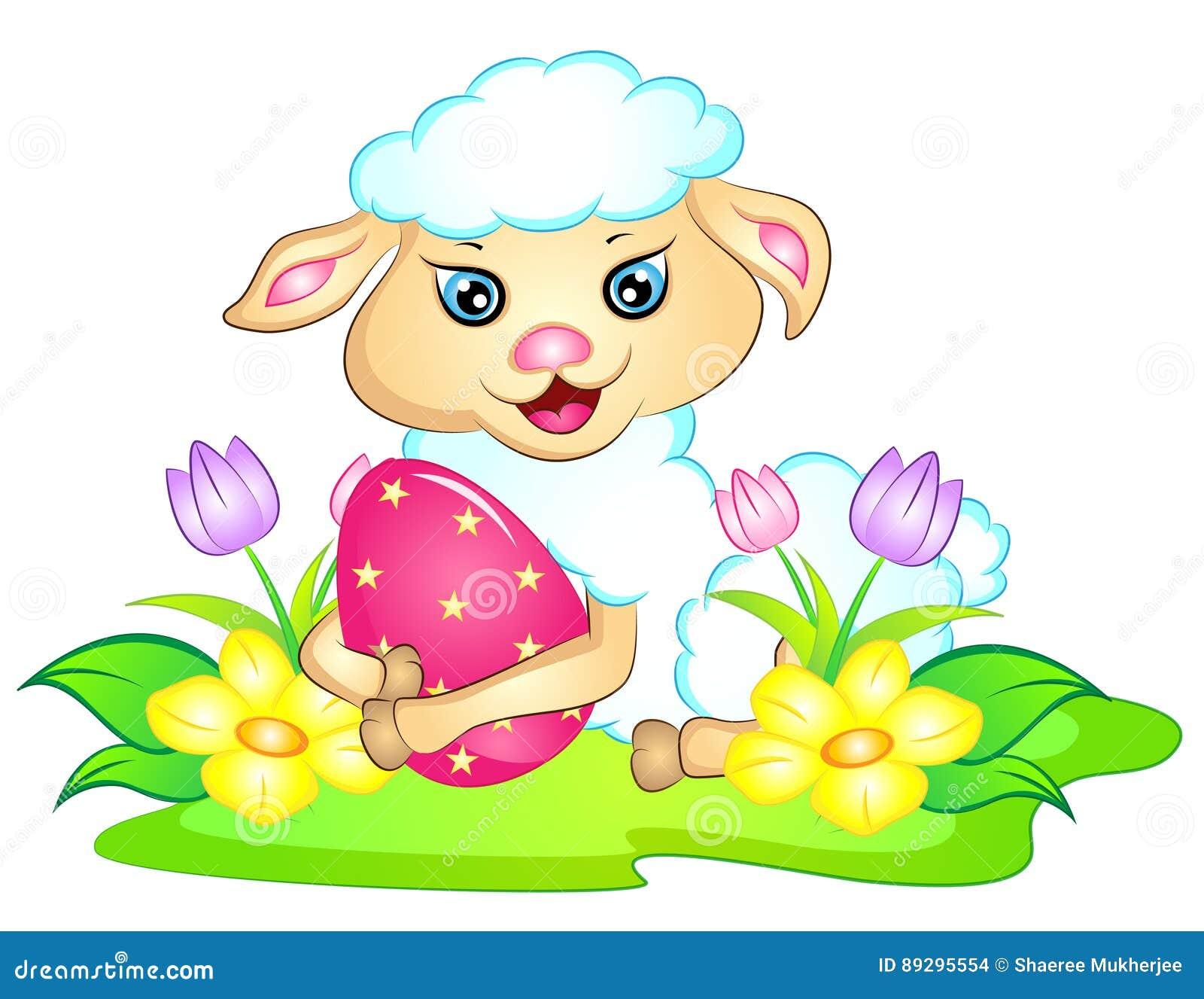 Wielkanocny baranek z Wielkanocnym jajkiem i kwiatami