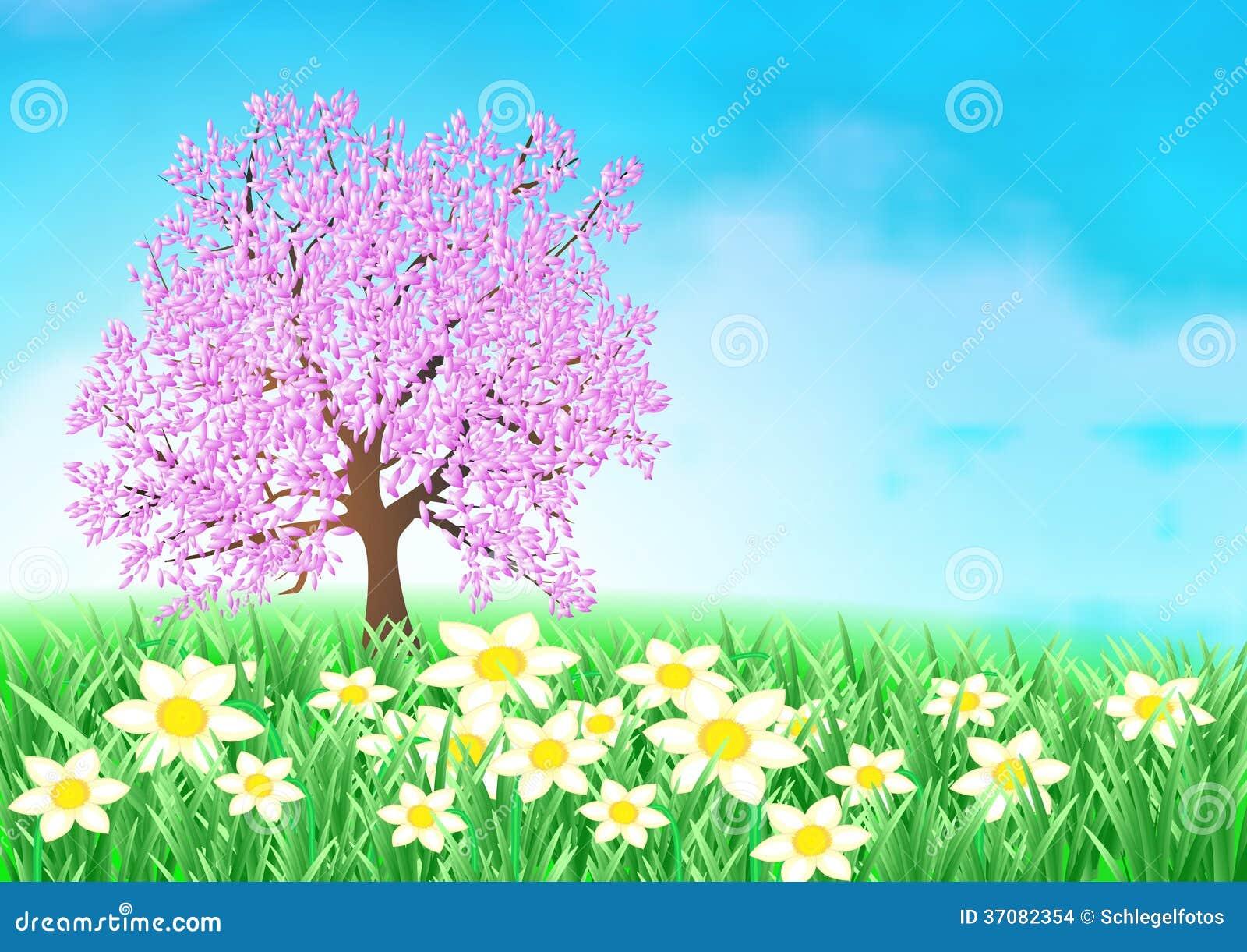 Download Wielkanocny Czereśniowego Drzewa Tło Ilustracji - Ilustracja złożonej z ogród, natura: 37082354