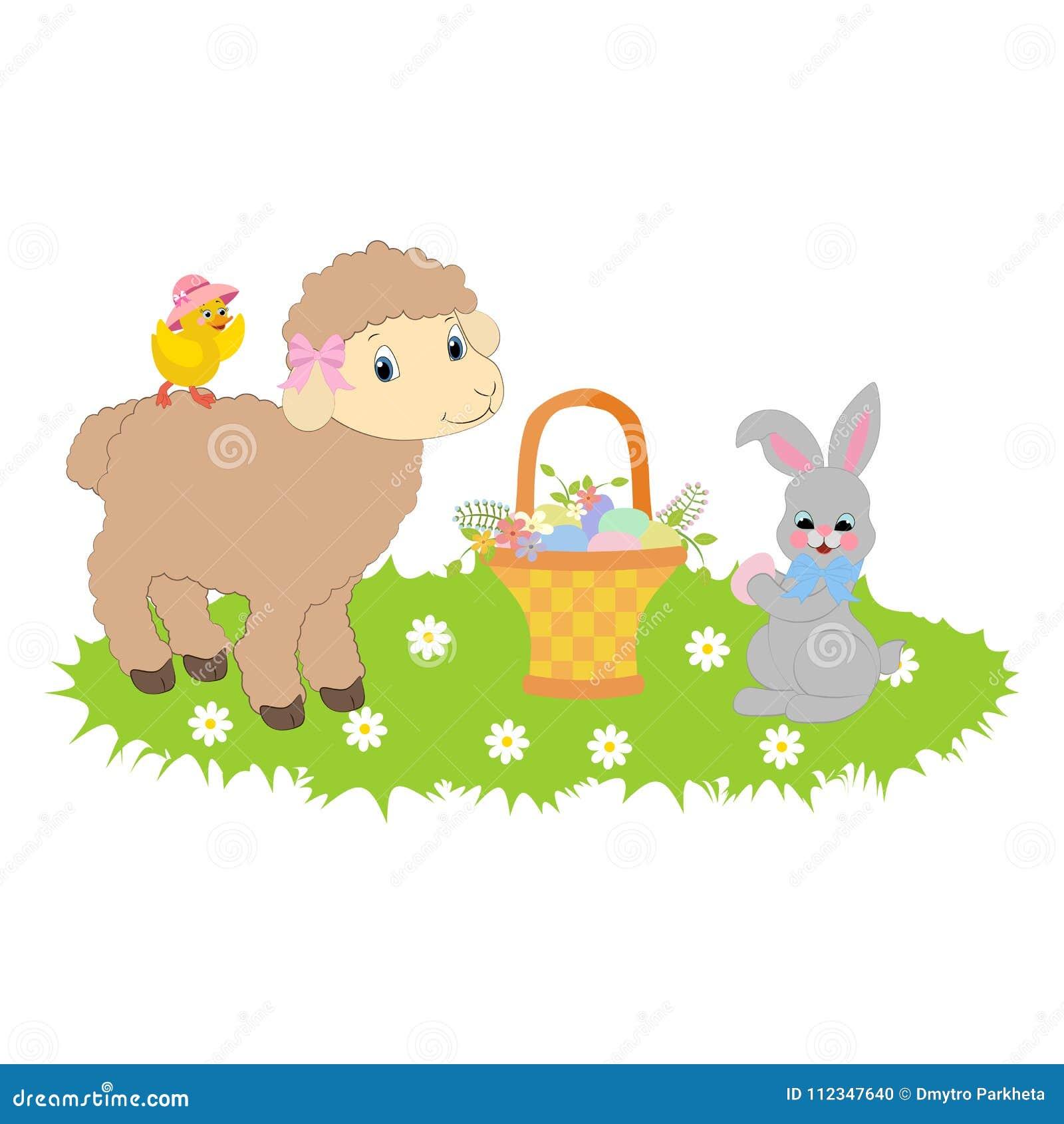 Wielkanocny królik i baranek