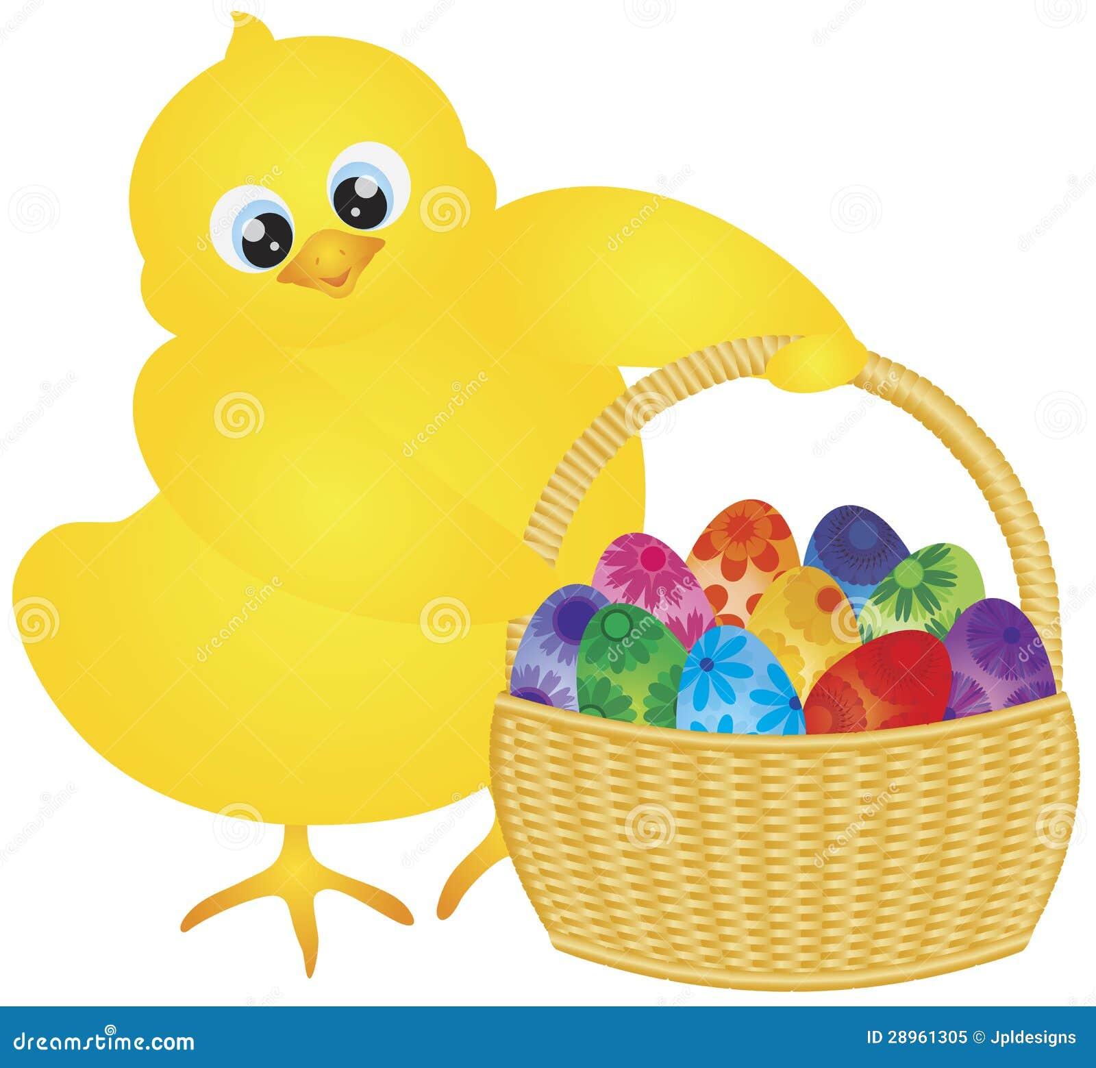 Wielkanocny kurczątko z koszem Kwieciści jajka