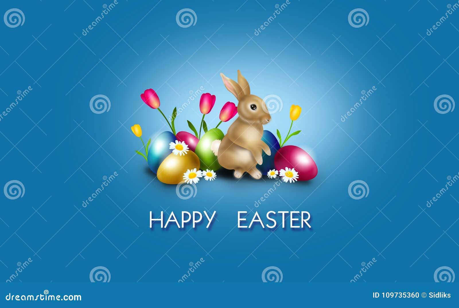 Wielkanocny tło dekorował z Easter królikiem i jajkami