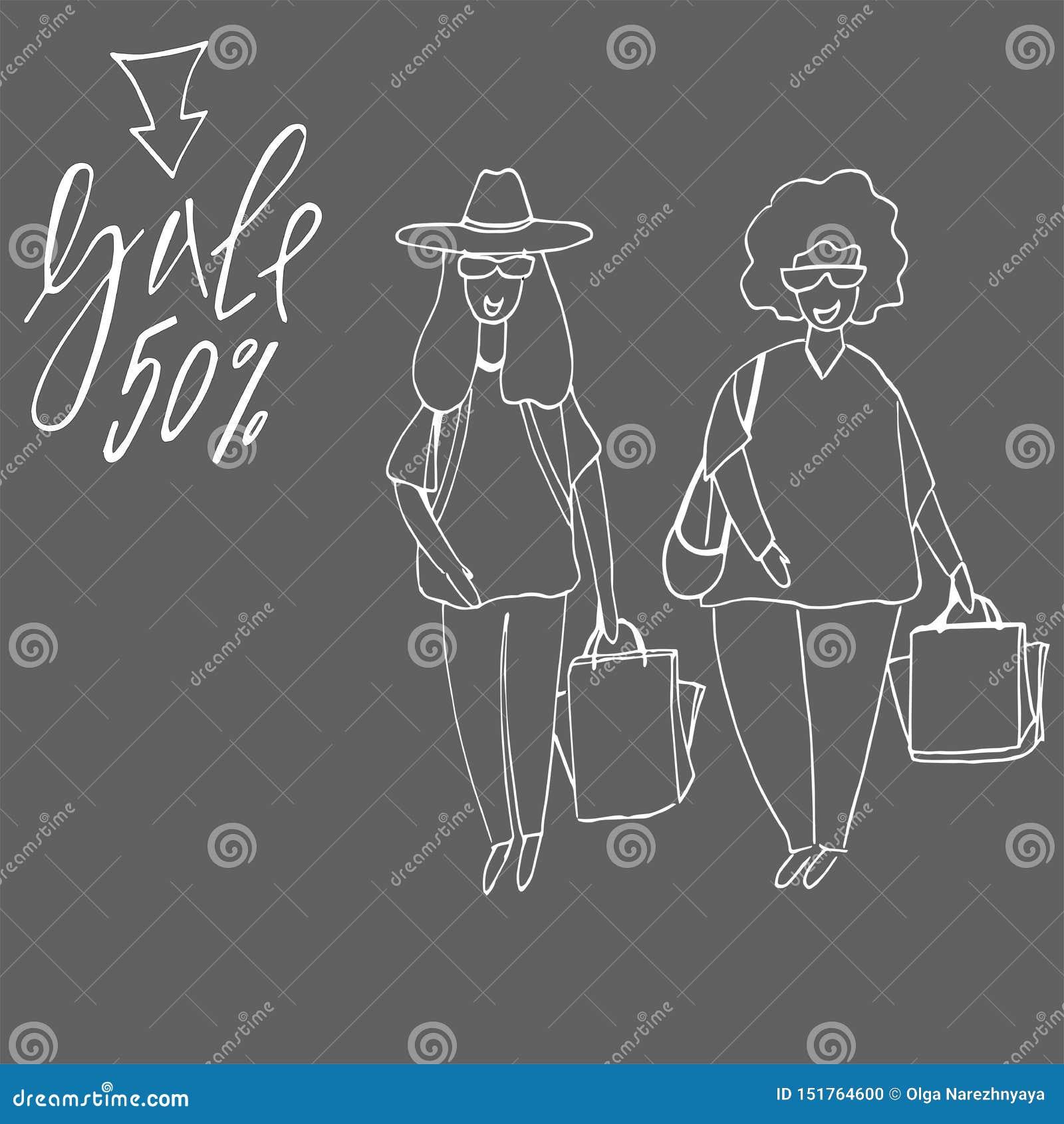 Wielki dziewczyna zakupy young nabywcy torba na zakupy i dziewczyna