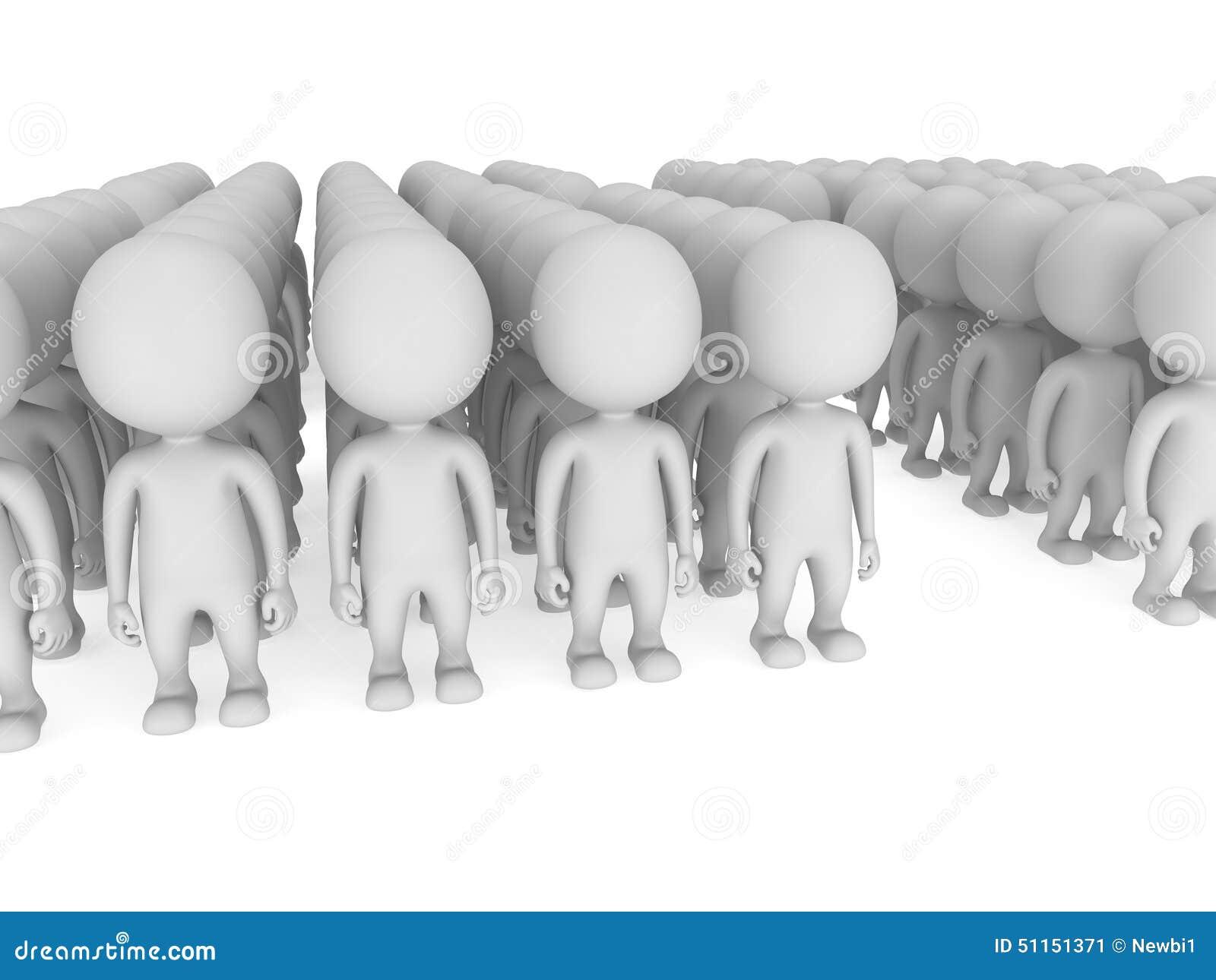 Wielki grupa ludzi stojak na bielu
