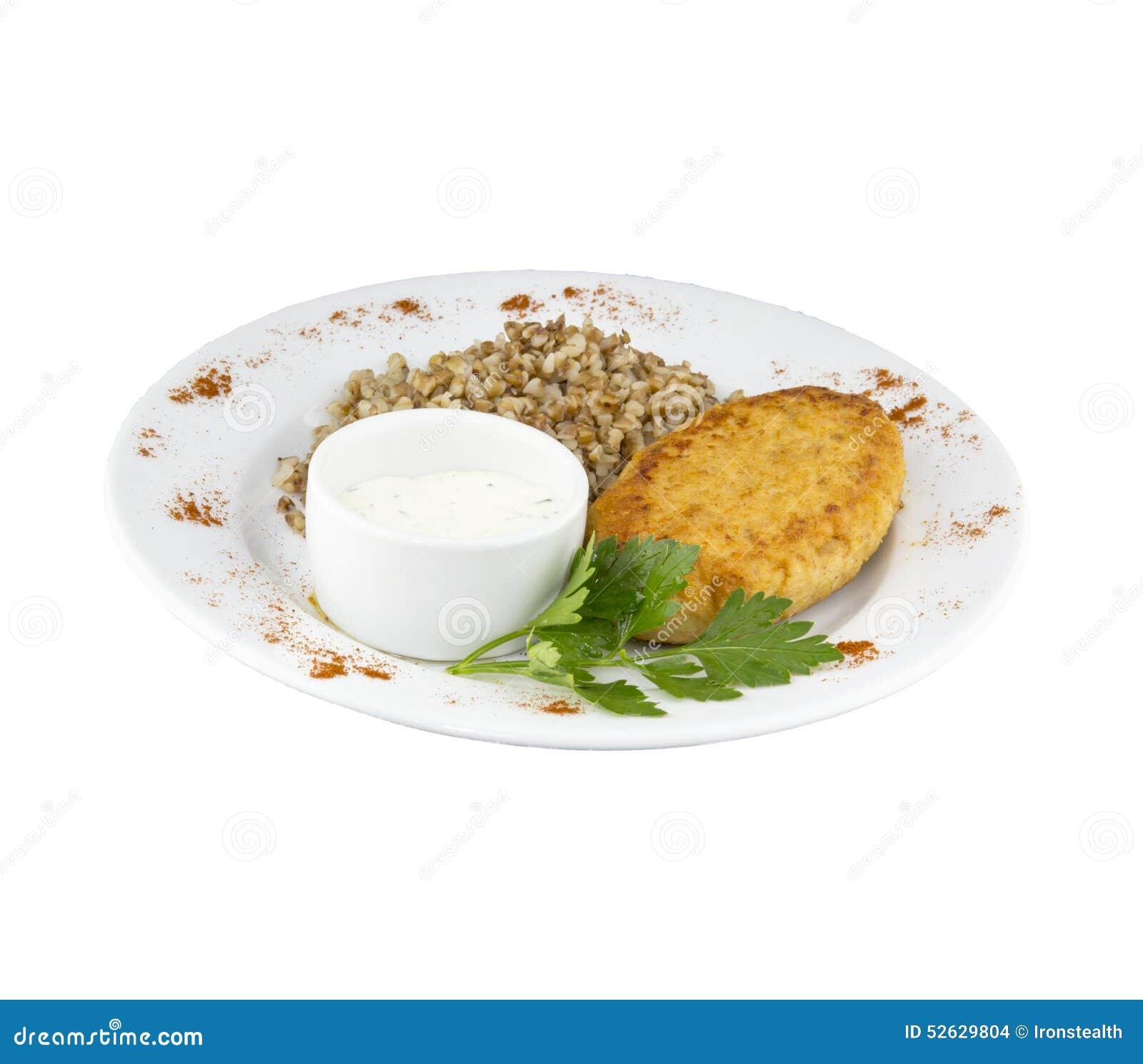 Wielki kurczaka cutlet z kumberlandem i gryką