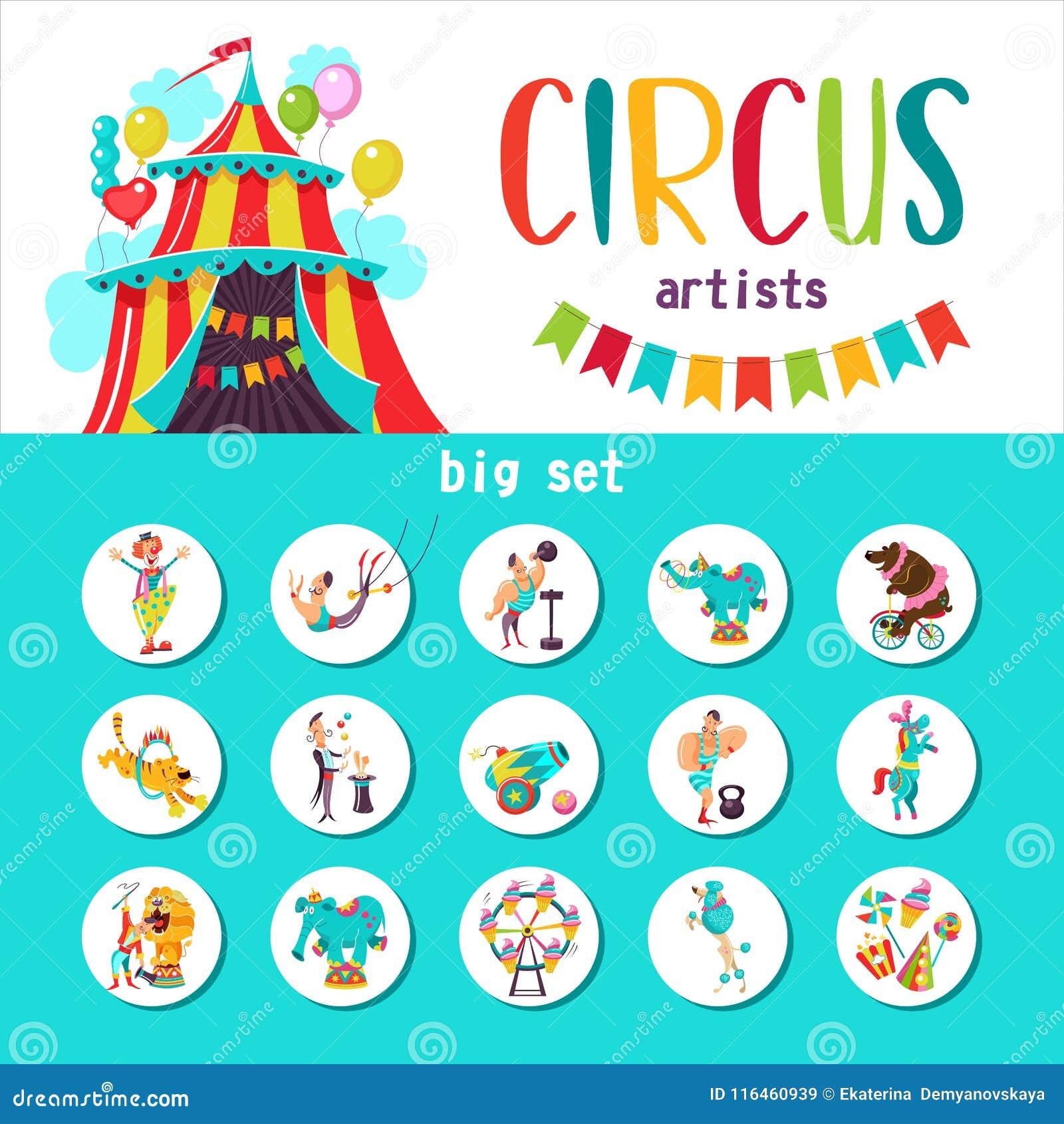 Wielki ustawiający wektorowych cliparts cyrkowi artyści i wyszkoleni zwierzęta również zwrócić corel ilustracji wektora