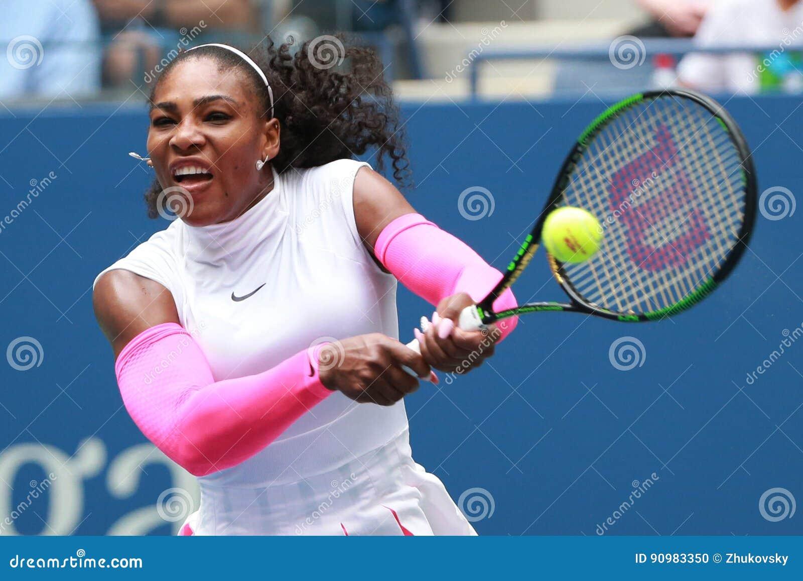 Wielkiego Szlema mistrz Serena Williams Stany Zjednoczone w akci podczas jej round trzy dopasowania przy us open 2016