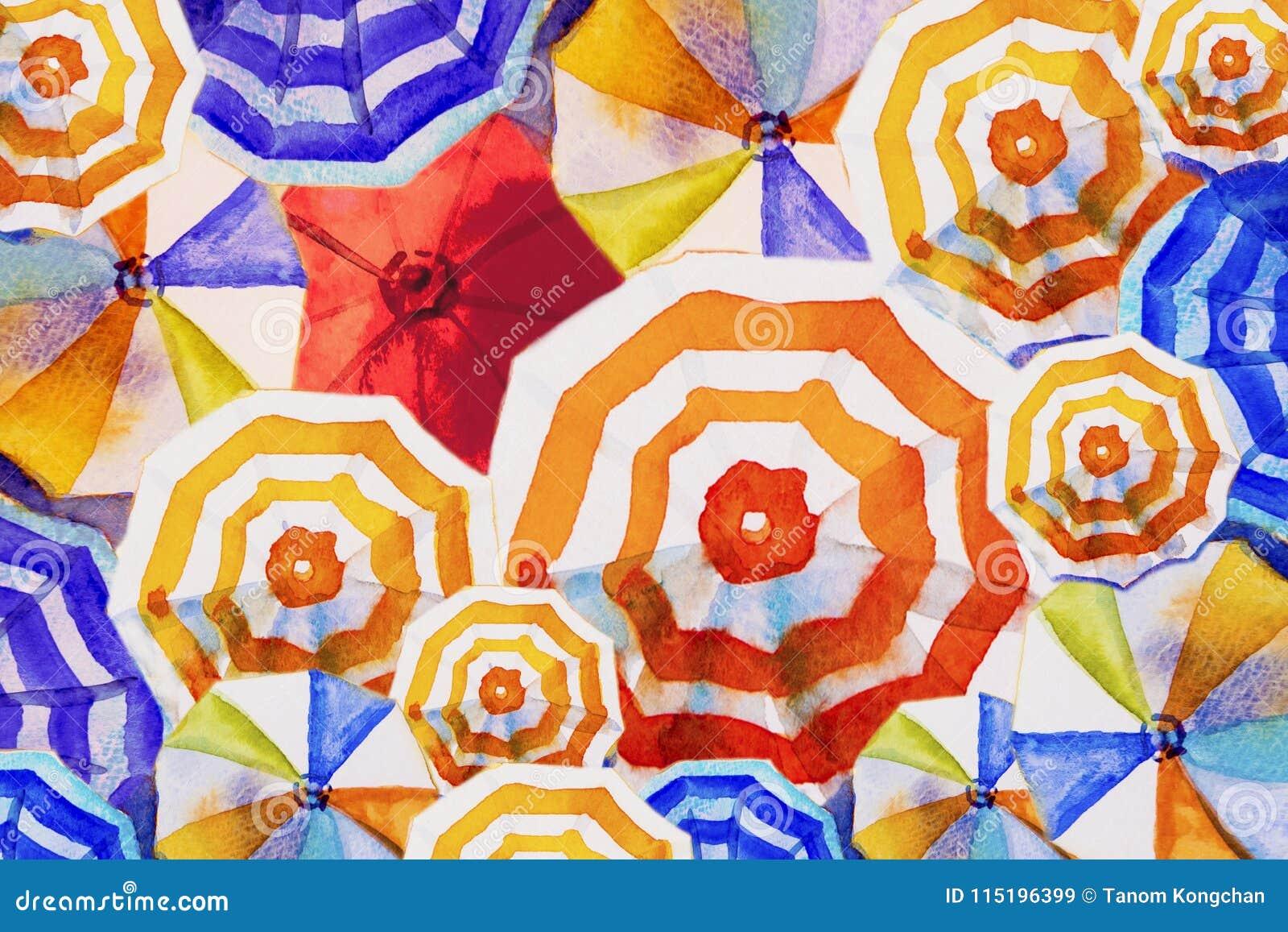 Wielo- barwiony parasol, maluje akwarela Odgórnego widok