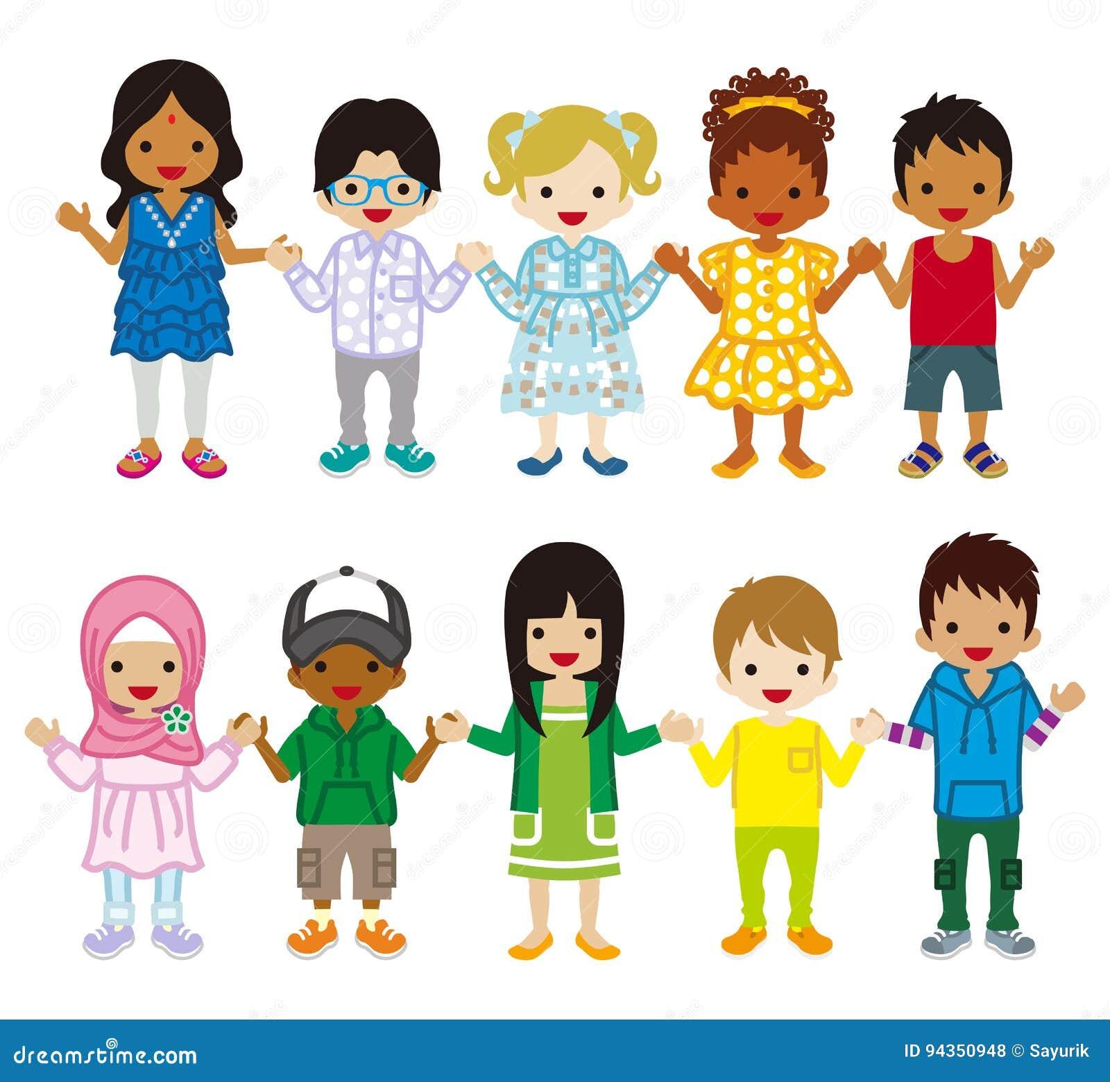 Wielo- Etniczni dzieci ustawiający