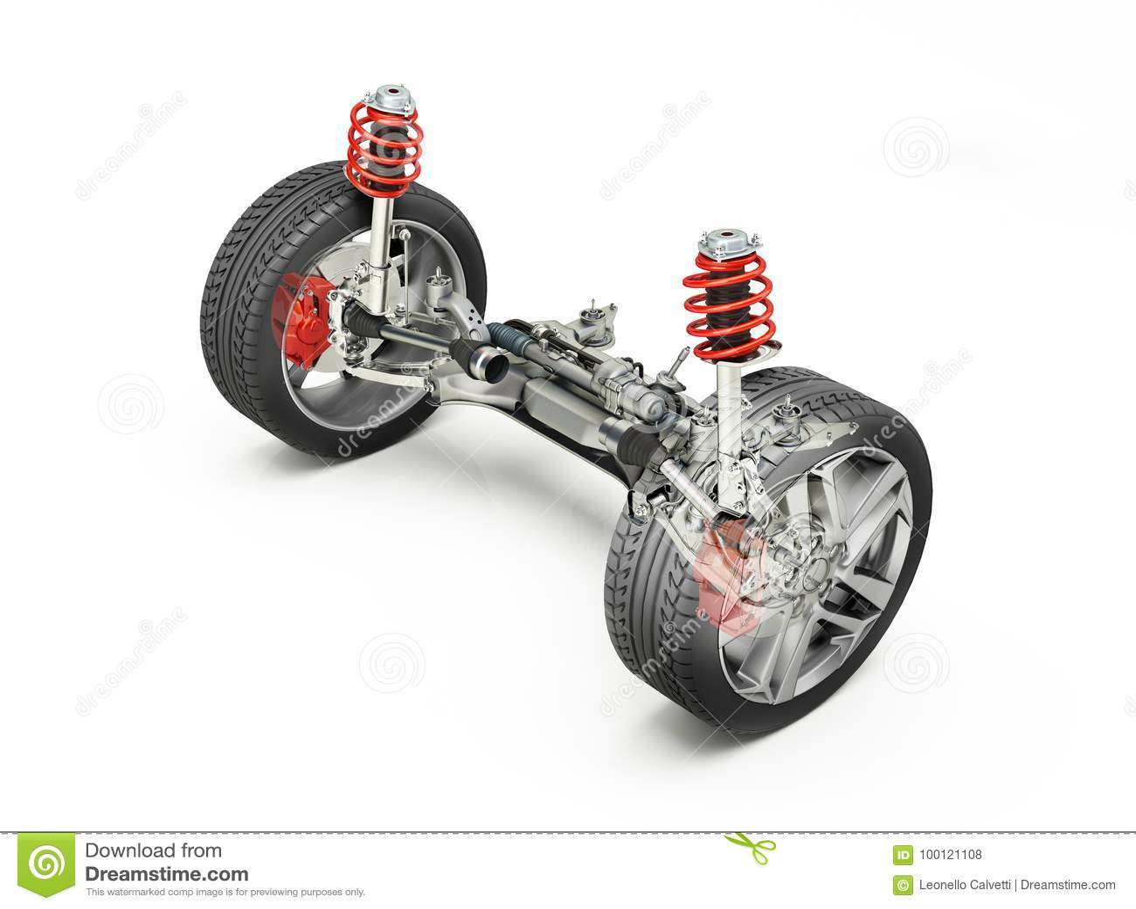 Wielo- połączenie przodu samochodowy zawieszenie z hamulcami i kołami,