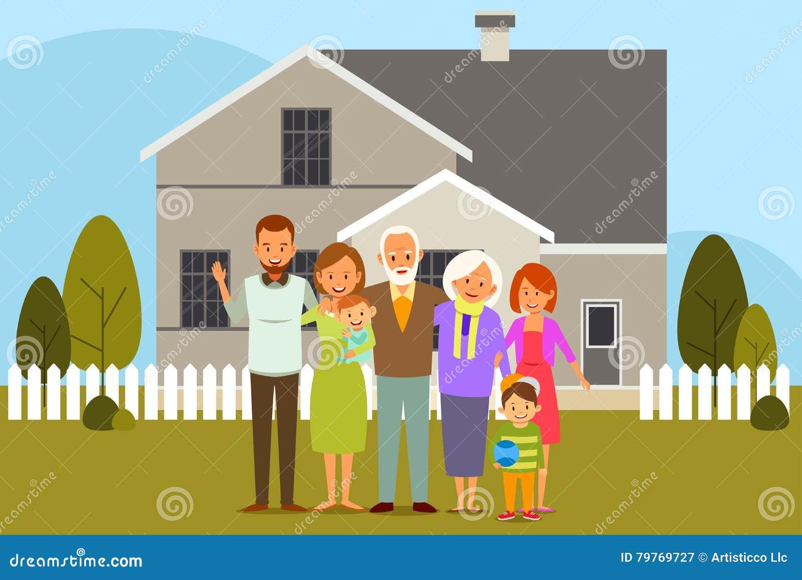 Wielo- pokolenie rodzina przed domem