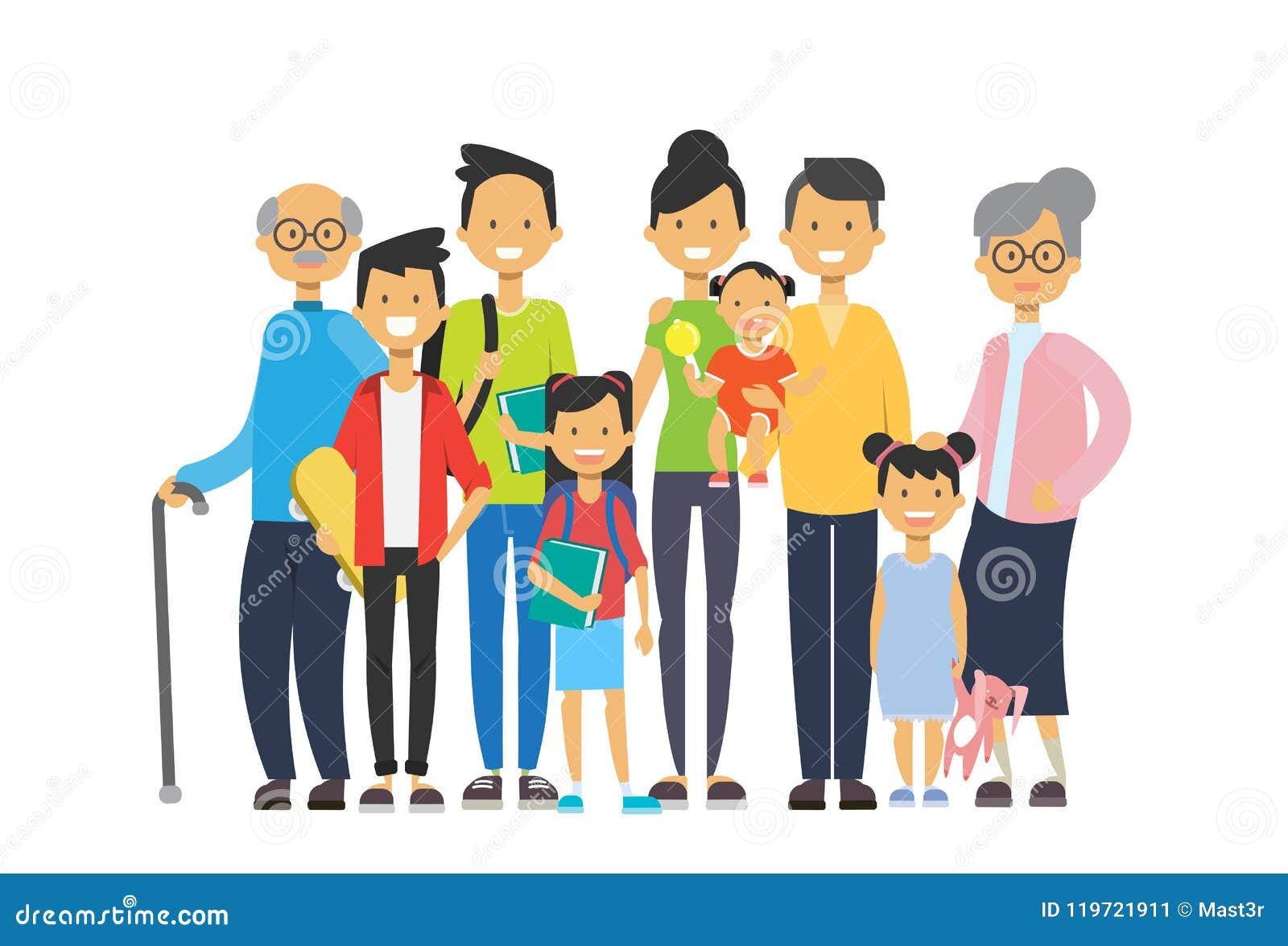 Wielo- pokolenie rodzina wpólnie, dziadek babcia i wnuki na białym tle, drzewo szczęśliwy genus