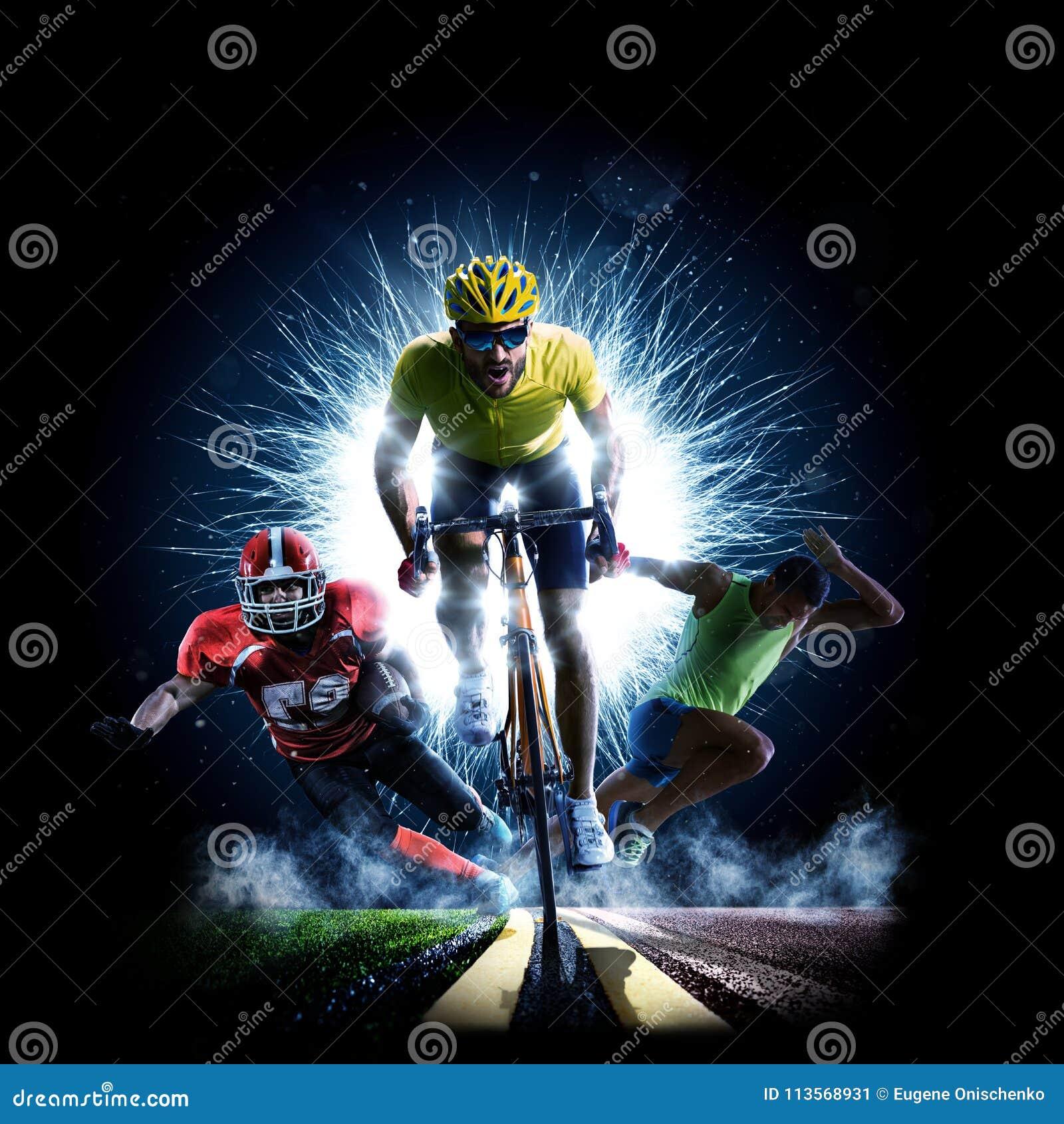 Wielo- sporta kolażu drogowego bicyklu rinning futbol amerykański
