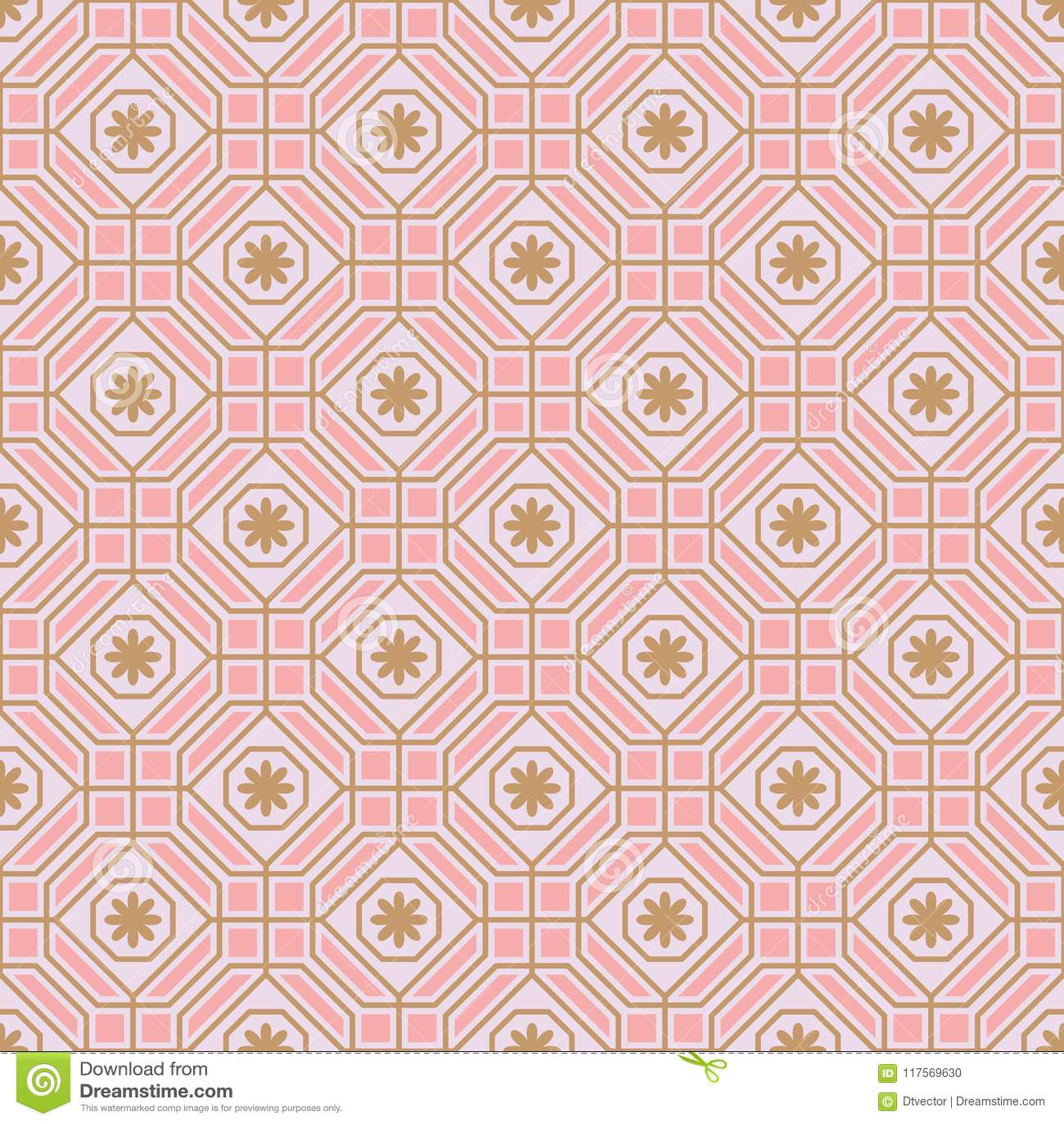 Wielobok linii kwiatu pastelowej symetrii bezszwowy wzór