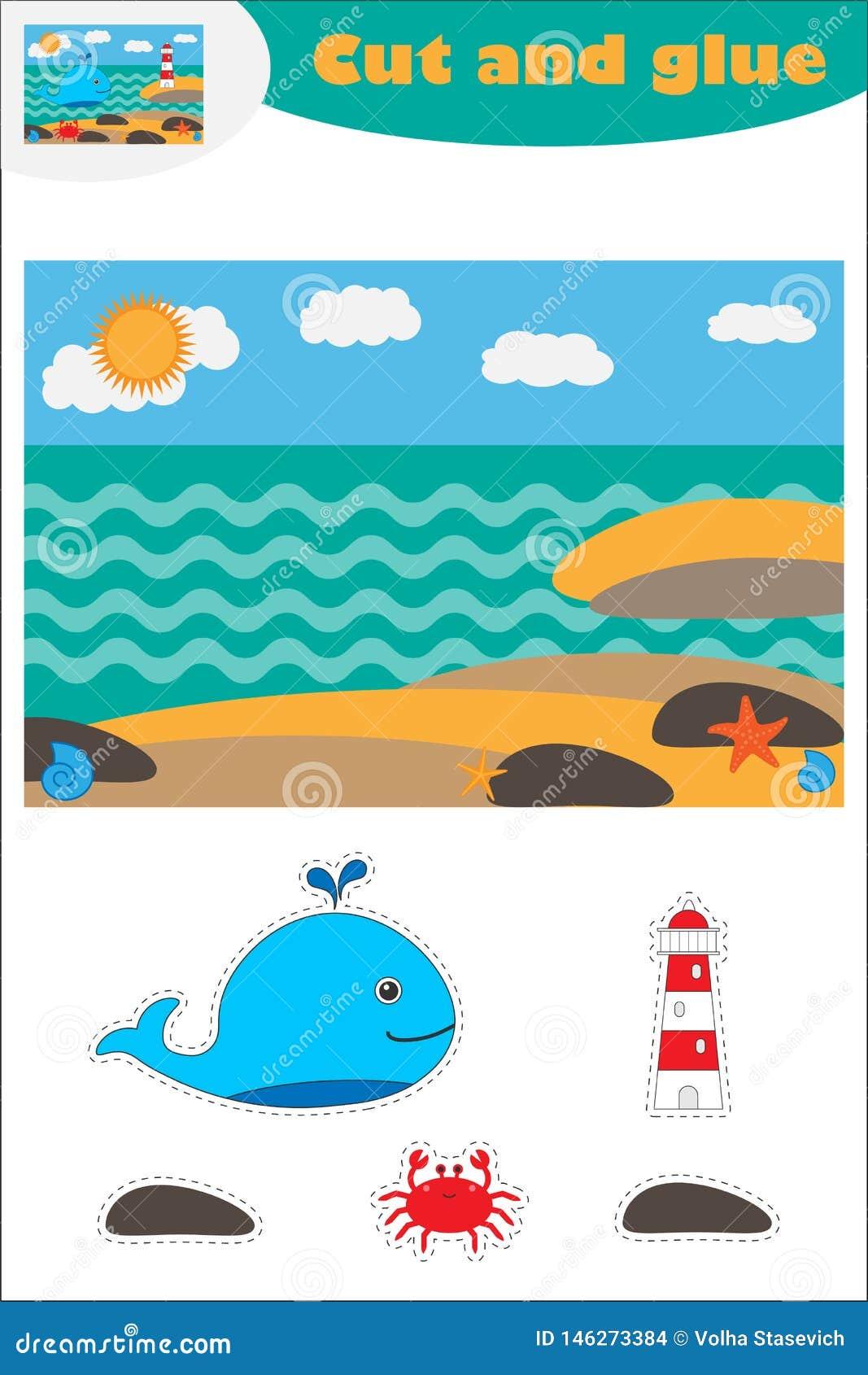 Wieloryb przy denną kreskówką, edukacji gra dla rozwoju preschool dzieci, używa nożyce i kleidło tworzyć aplikację,