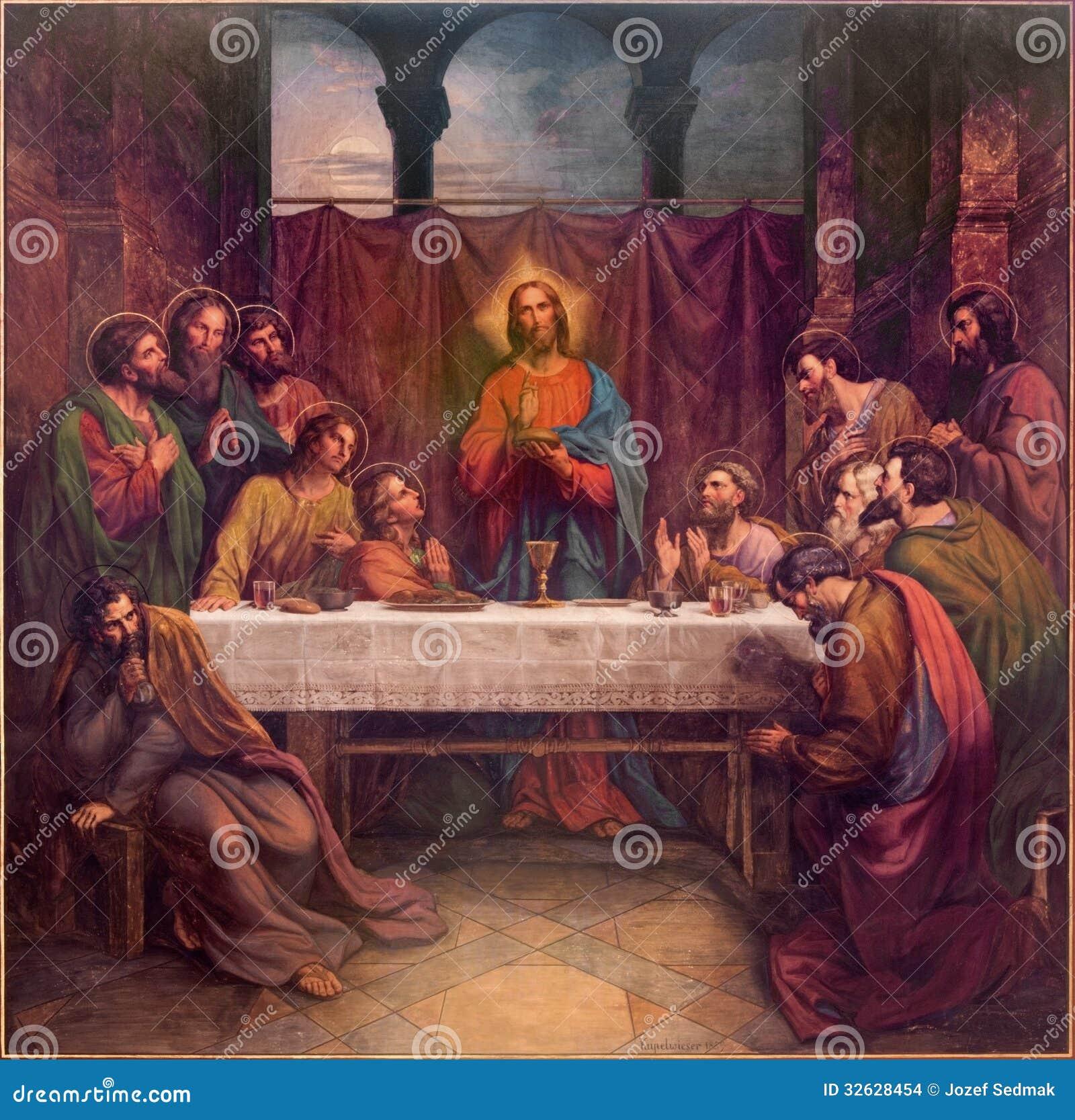 Wien - Fresko des letzten Abendessens von Christus durch Leopold Kupelwieser ab 1889 im Kirchenschiff von Altlerchenfelder-Kirche