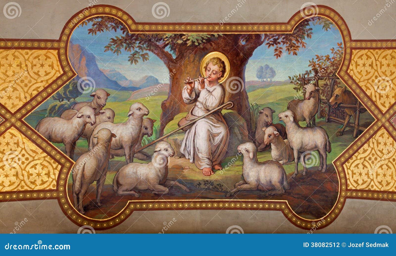 Wien - freskomålning av lilla Jesus som bra herde av Josef Kastner 1906 - 1911 i den Carmelites kyrkan i Dobling.