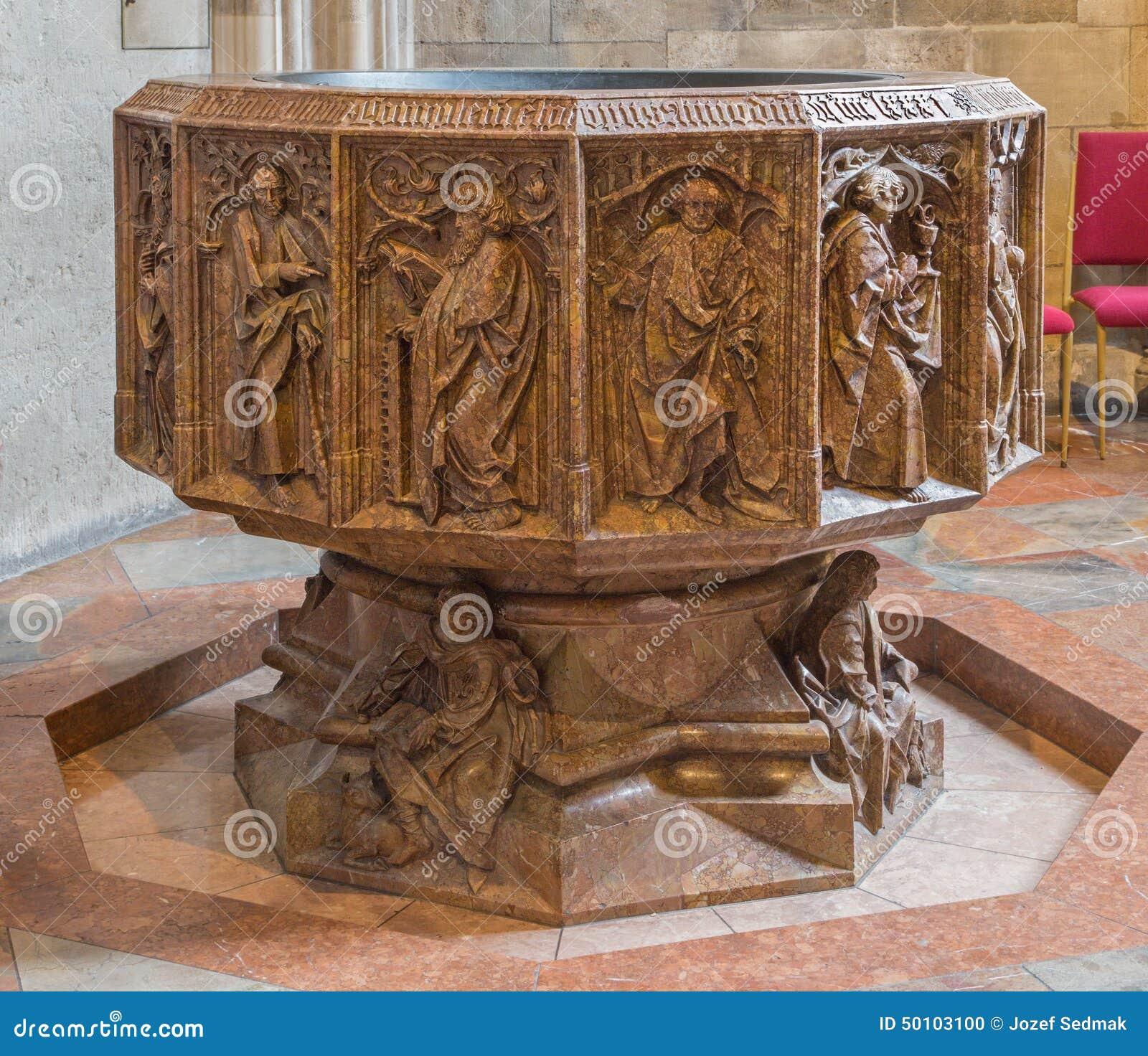 Wien - untererer Teil des gotischen Marmorbaptistery St. Stephens von Kathedrale oder von Stephansdom in Kapelle St. Katherine