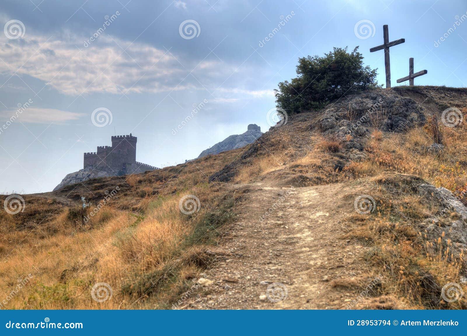 Wierza genua forteca w Sudak Crimea Od ziemi up na th