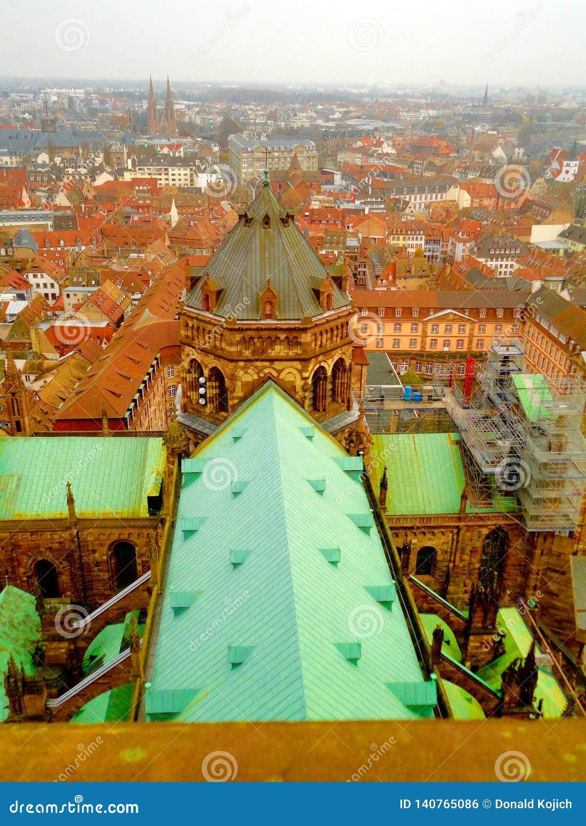 Wierzchołka widok Strasburg, Francja